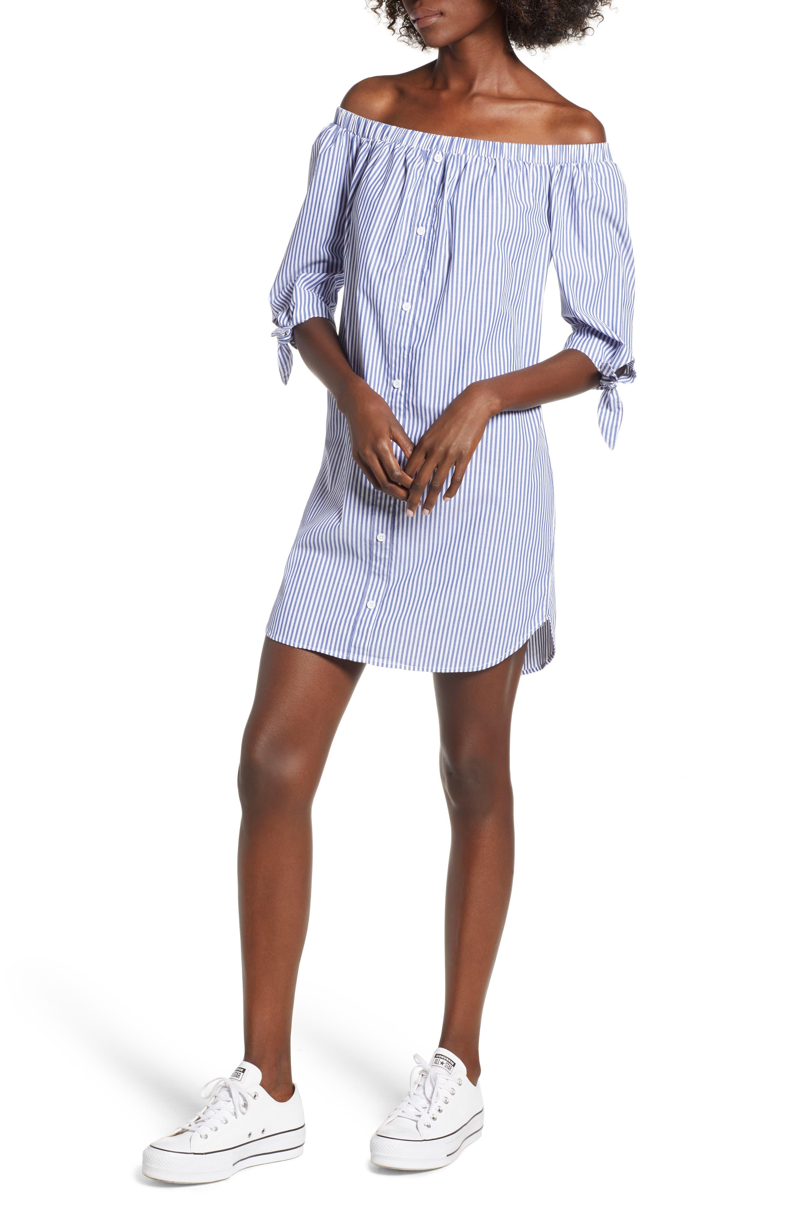 Stripe Off-the-shoulder Poplin Shirtdress,                             Main thumbnail 1, color,                             400