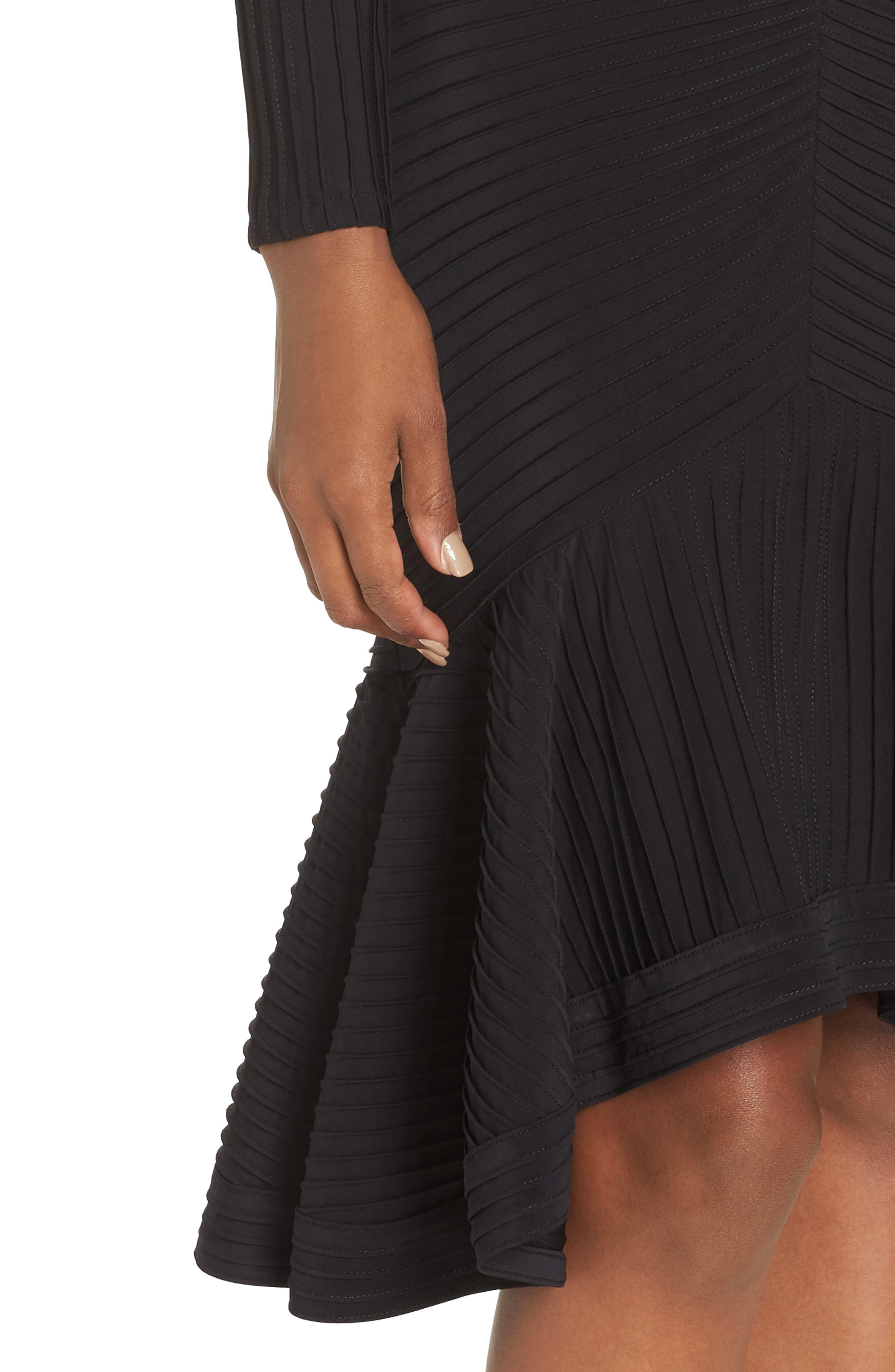 Pintuck High/Low Midi Dress,                             Alternate thumbnail 4, color,                             BLACK