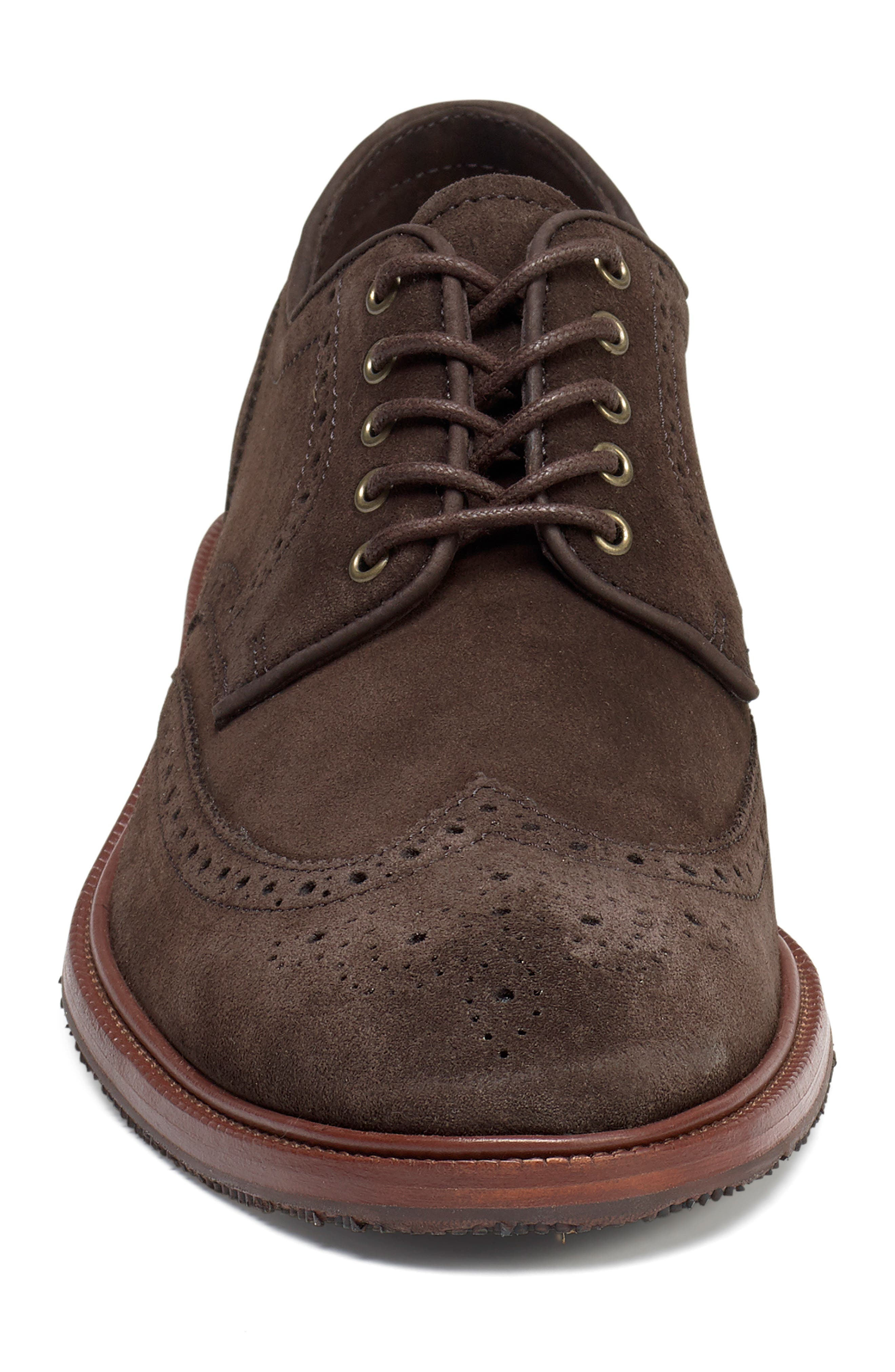 Logan Wingtip Derby,                             Alternate thumbnail 4, color,                             CHARCOAL SUEDE