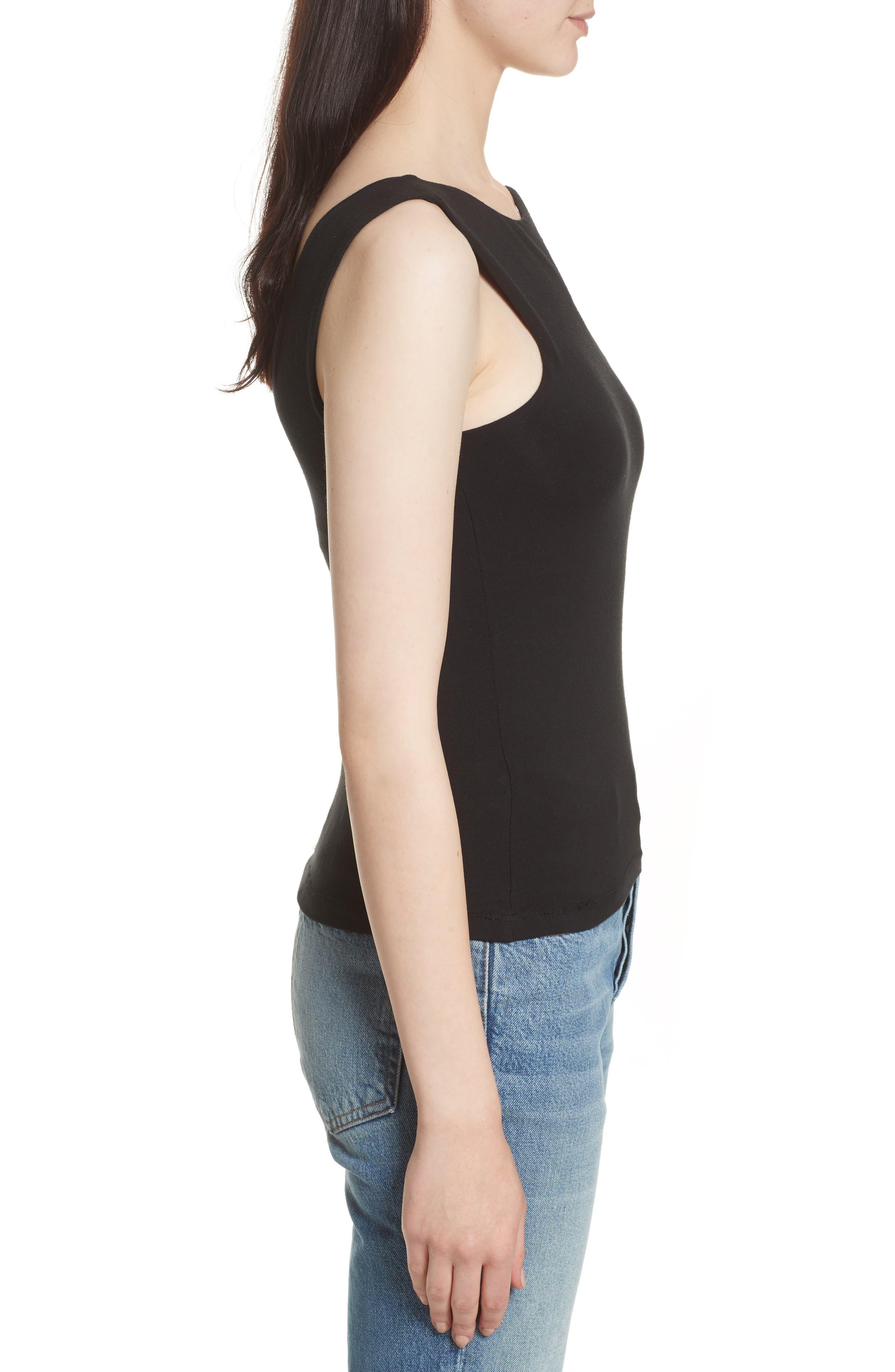 Asymmetrical Cutout Stretch Jersey Top,                             Alternate thumbnail 3, color,                             001