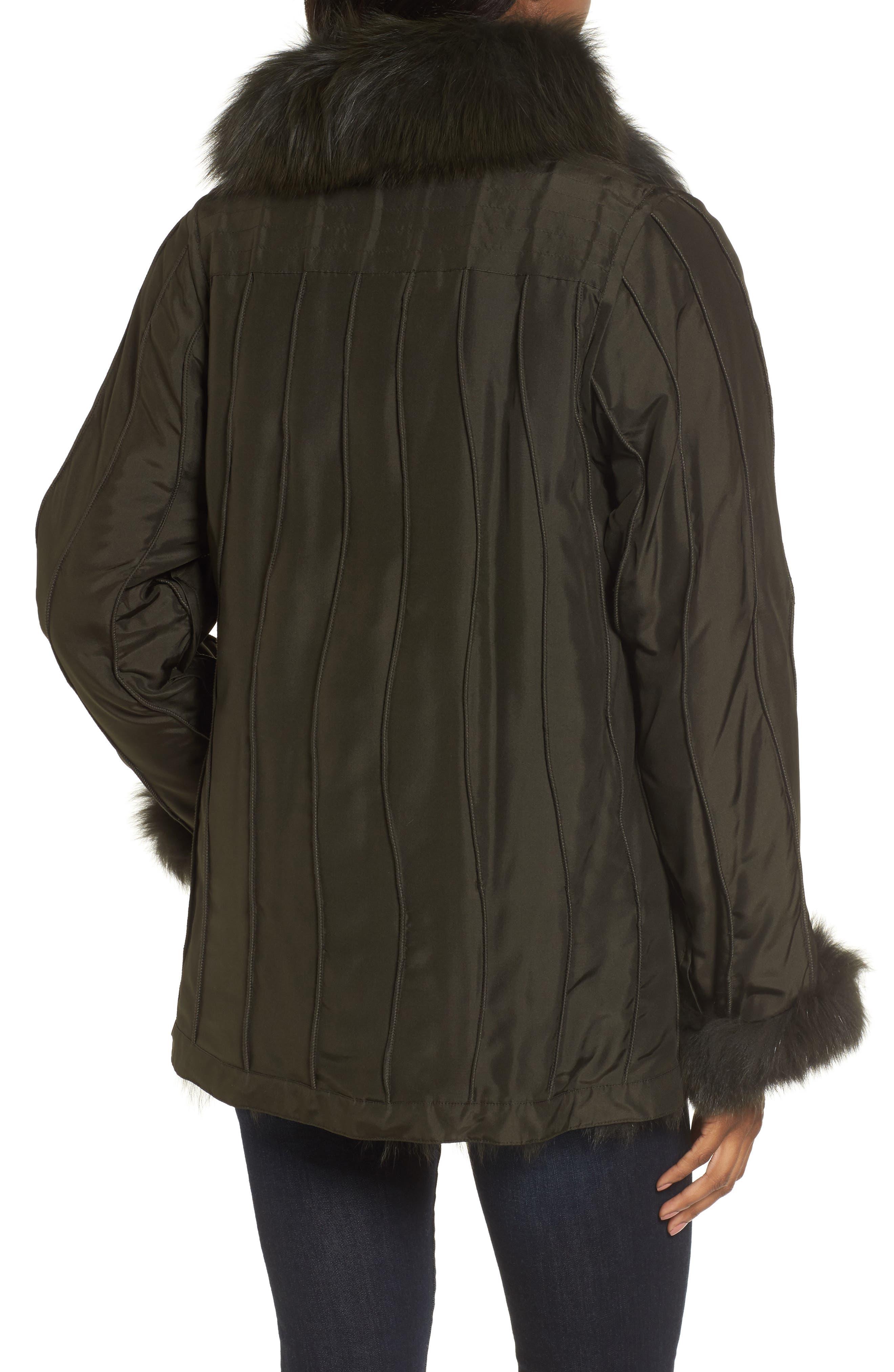 GeorgeSimonton Reversible Silk & Genuine Fox Fur Topper,                             Alternate thumbnail 6, color,