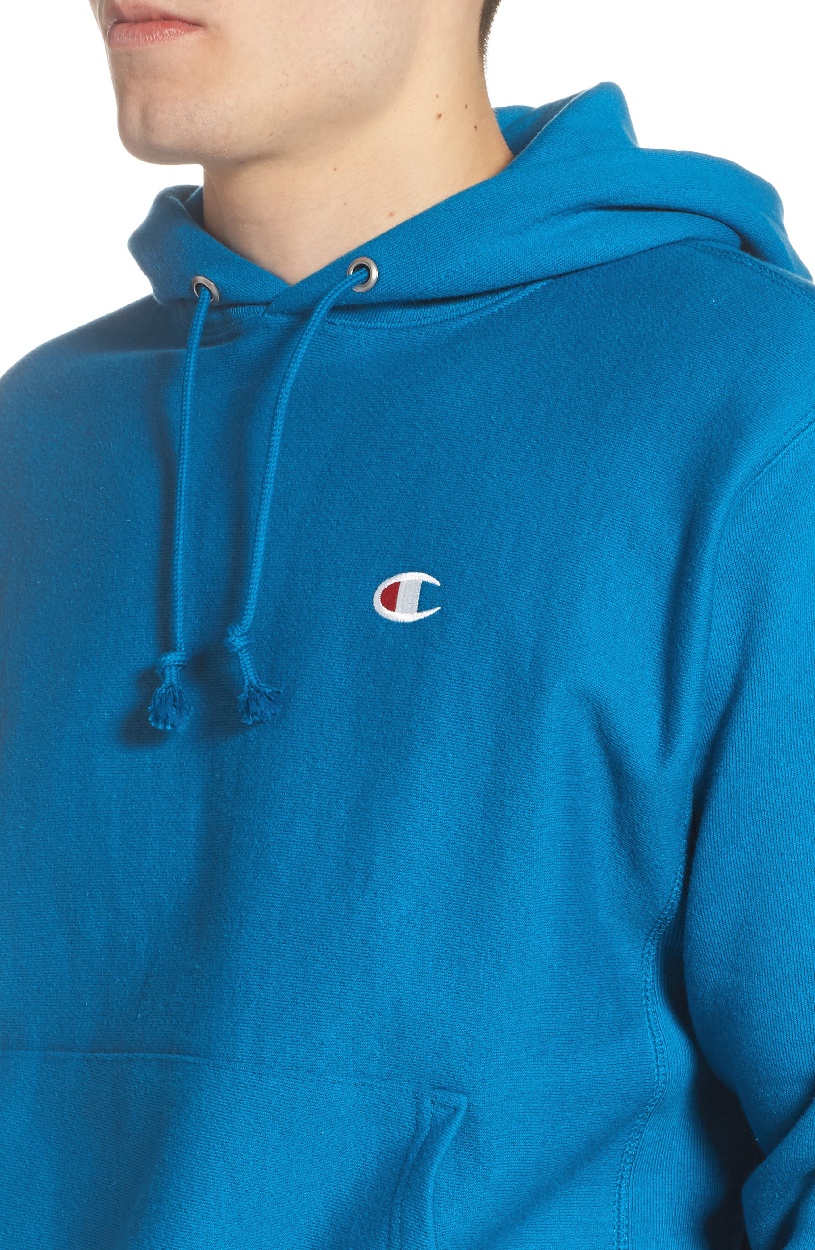 Reverse Weave<sup>®</sup> Pullover Hoodie,                             Alternate thumbnail 4, color,                             DEEP HOTLINE BLUE
