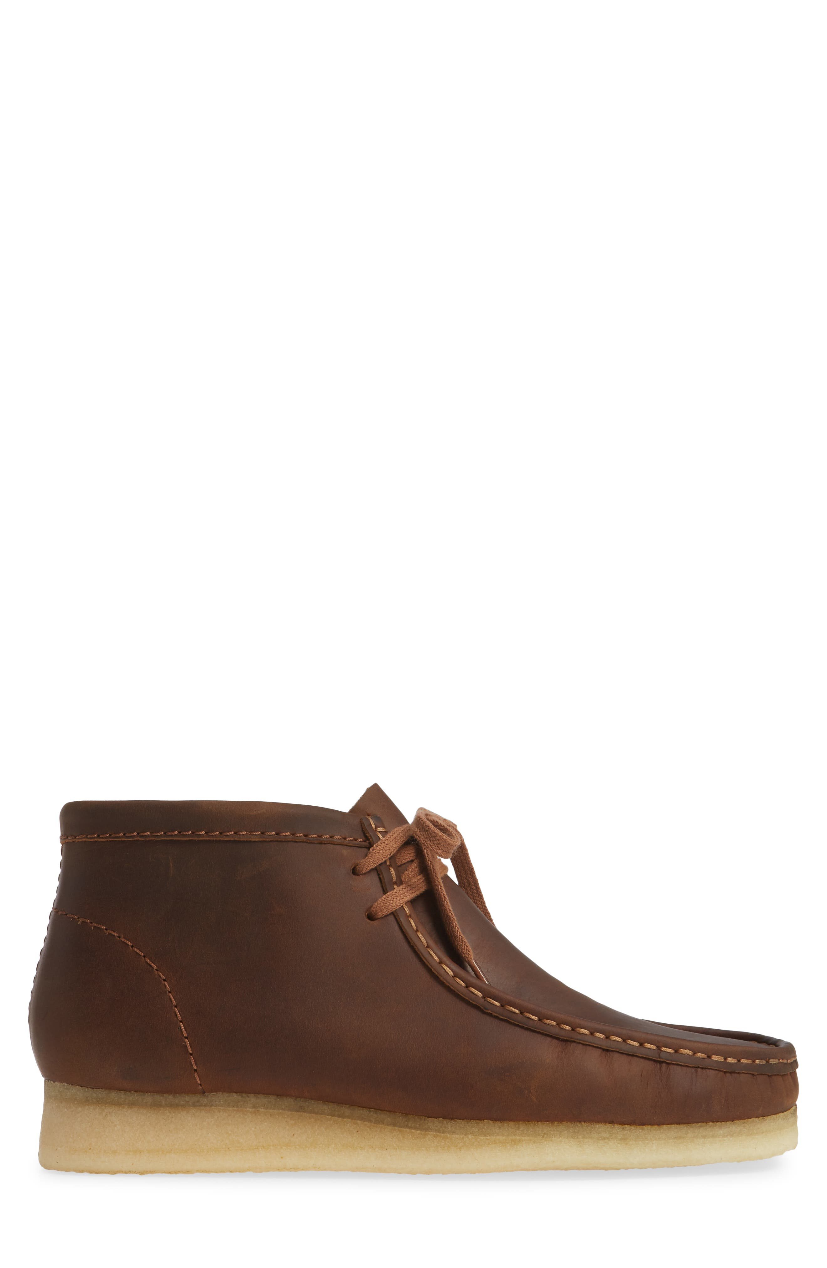 Wallabee Boot,                             Alternate thumbnail 3, color,                             BROWN LEATHER