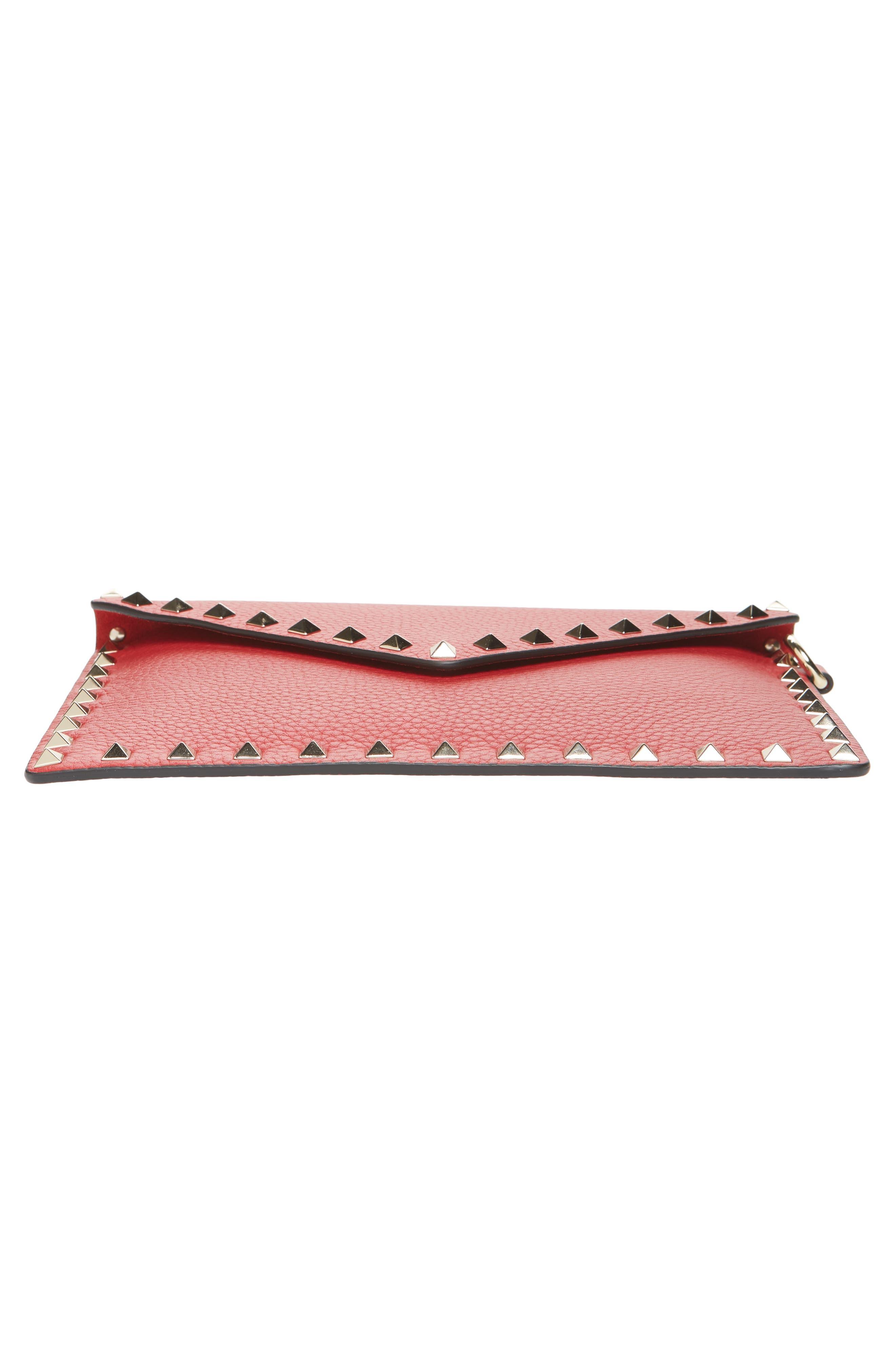 Medium Rockstud Leather Envelope Pouch,                             Alternate thumbnail 6, color,                             ROSSO V