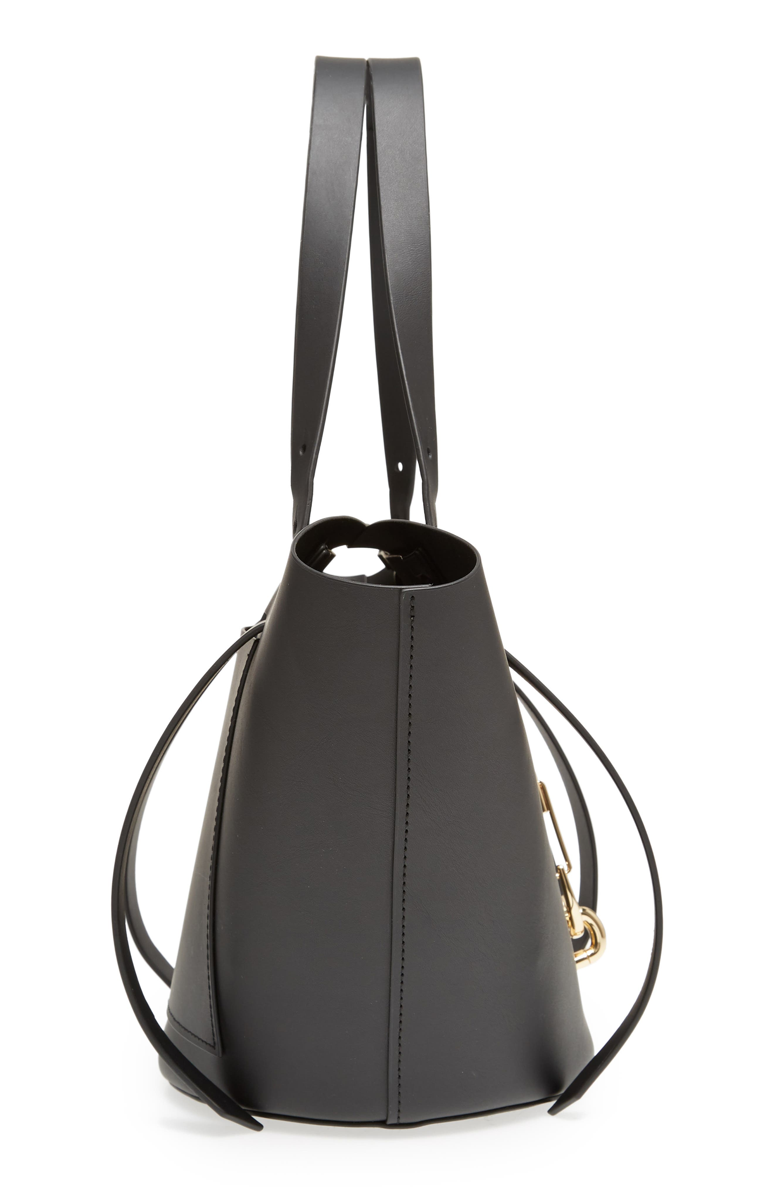 Small Belay Leather Tote,                             Alternate thumbnail 5, color,                             BLACK