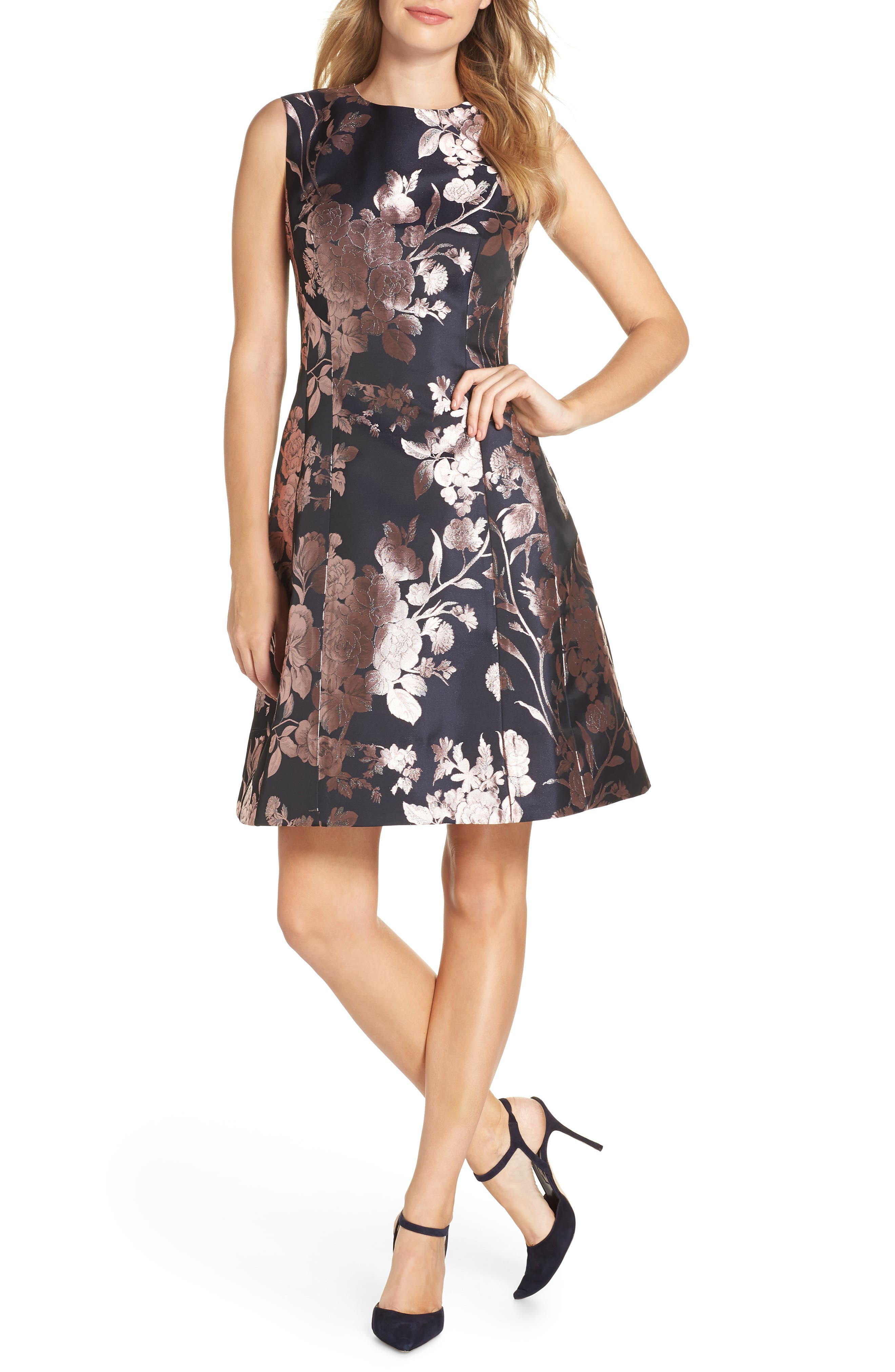 Eliza J Floral Metallic Jacquard Fit & Flare Dress, Blue