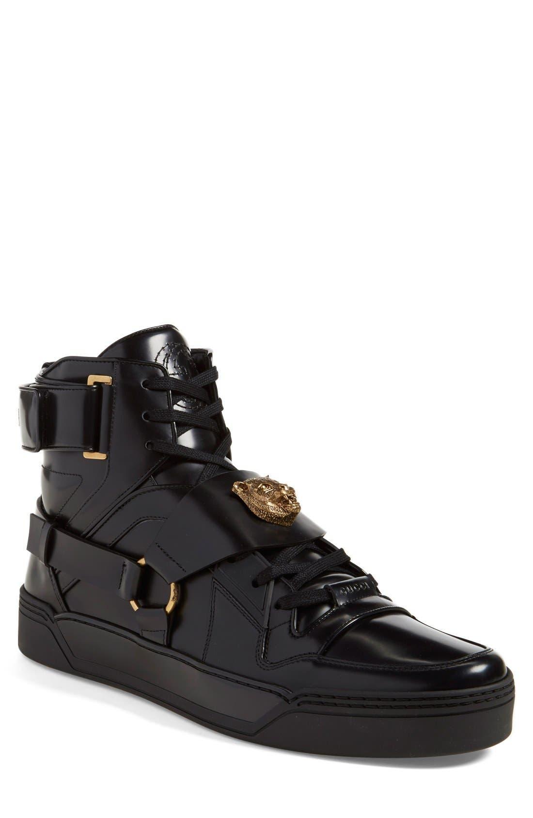GUCCI 'Tiger' High Top Sneaker, Main, color, 001