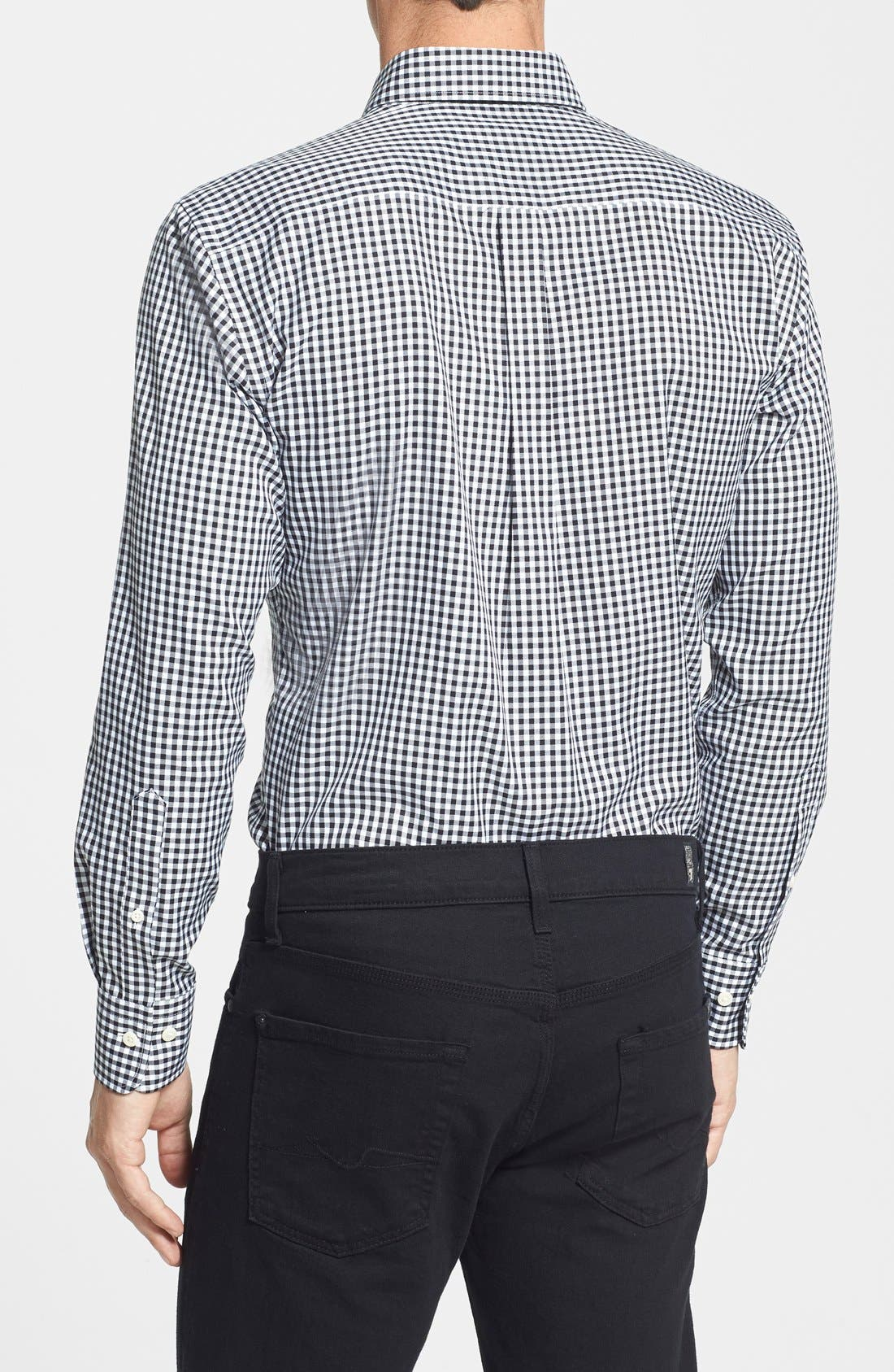 'Nanoluxe' Regular Fit Wrinkle Resistant Twill Check Sport Shirt,                             Alternate thumbnail 2, color,                             001