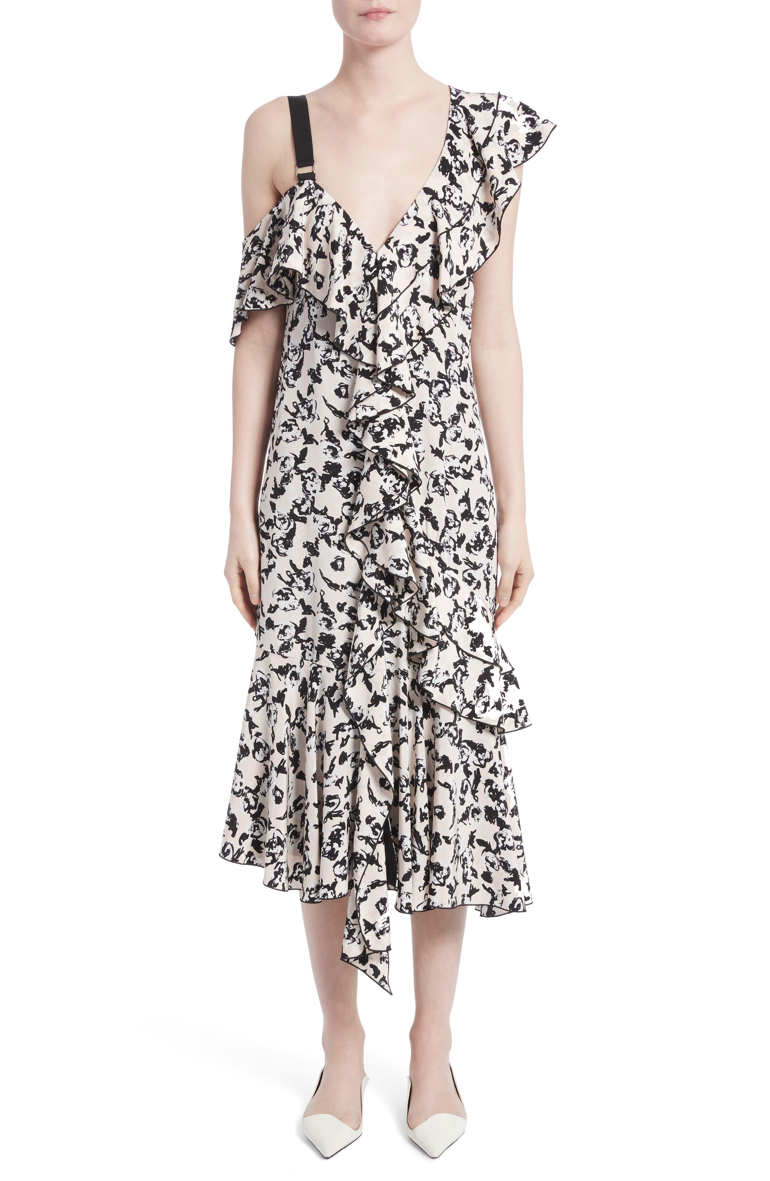 Ruffle Print Silk Midi Dress,                             Main thumbnail 1, color,                             001