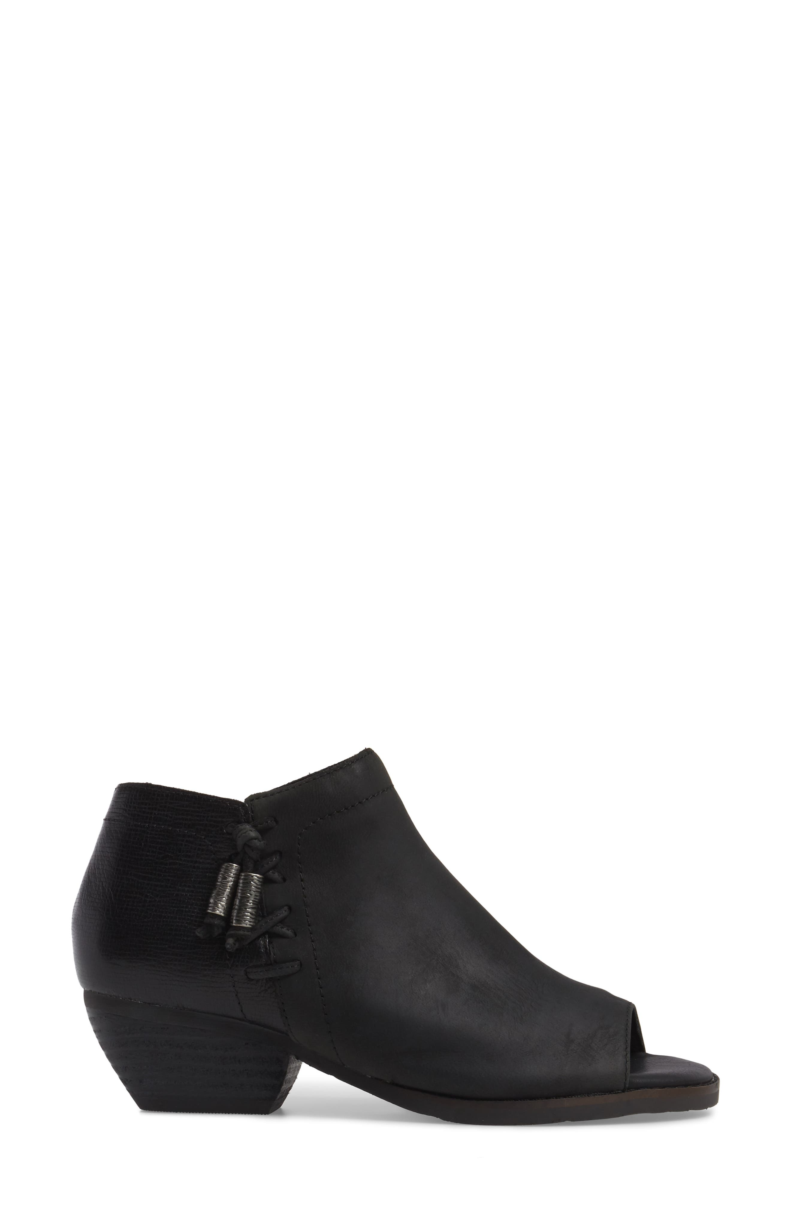 Truckage Open Toe Bootie,                             Alternate thumbnail 3, color,                             BLACK LEATHER