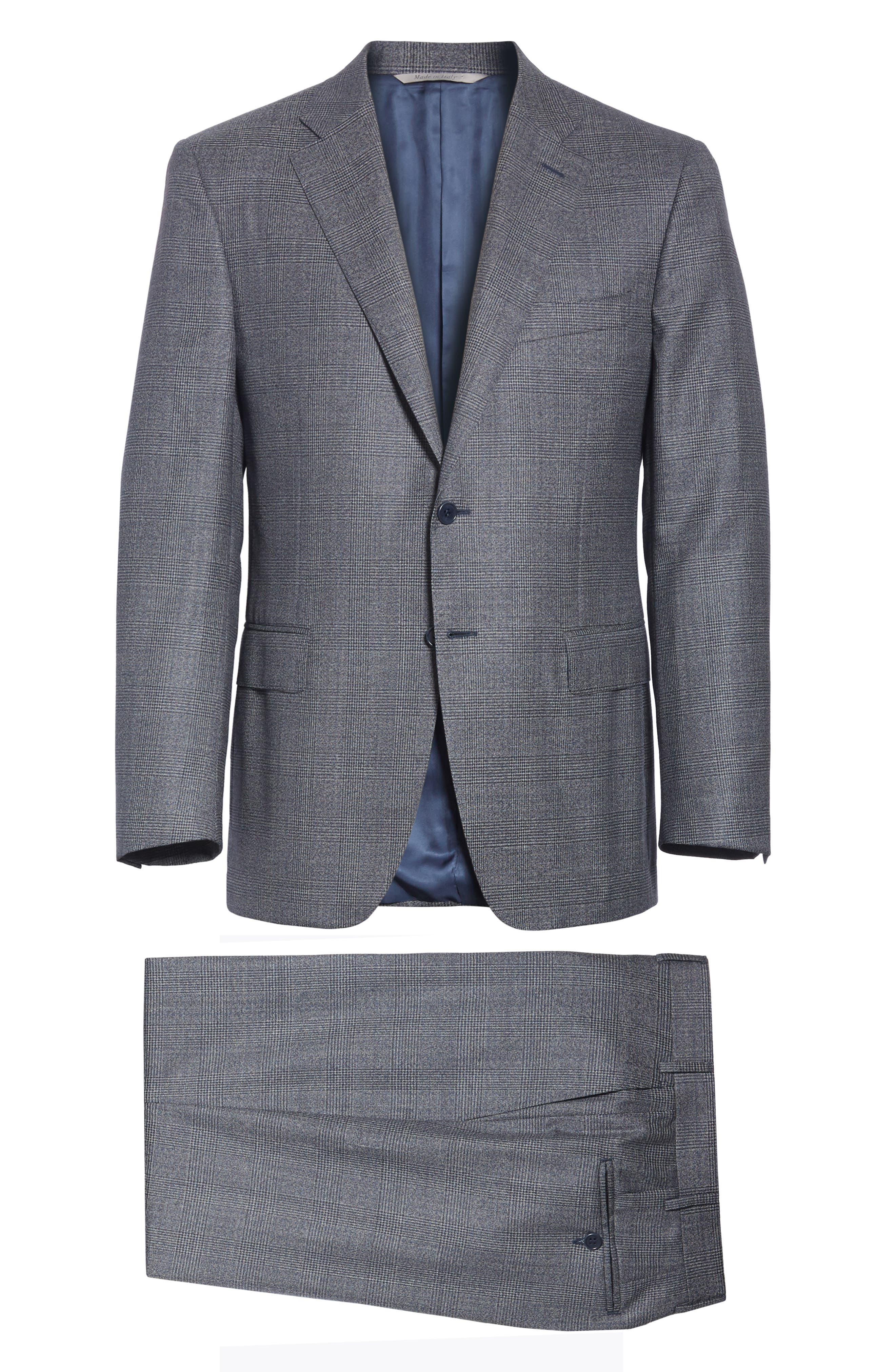 Classic Fit Plaid Wool Suit,                             Alternate thumbnail 7, color,                             MED GREY