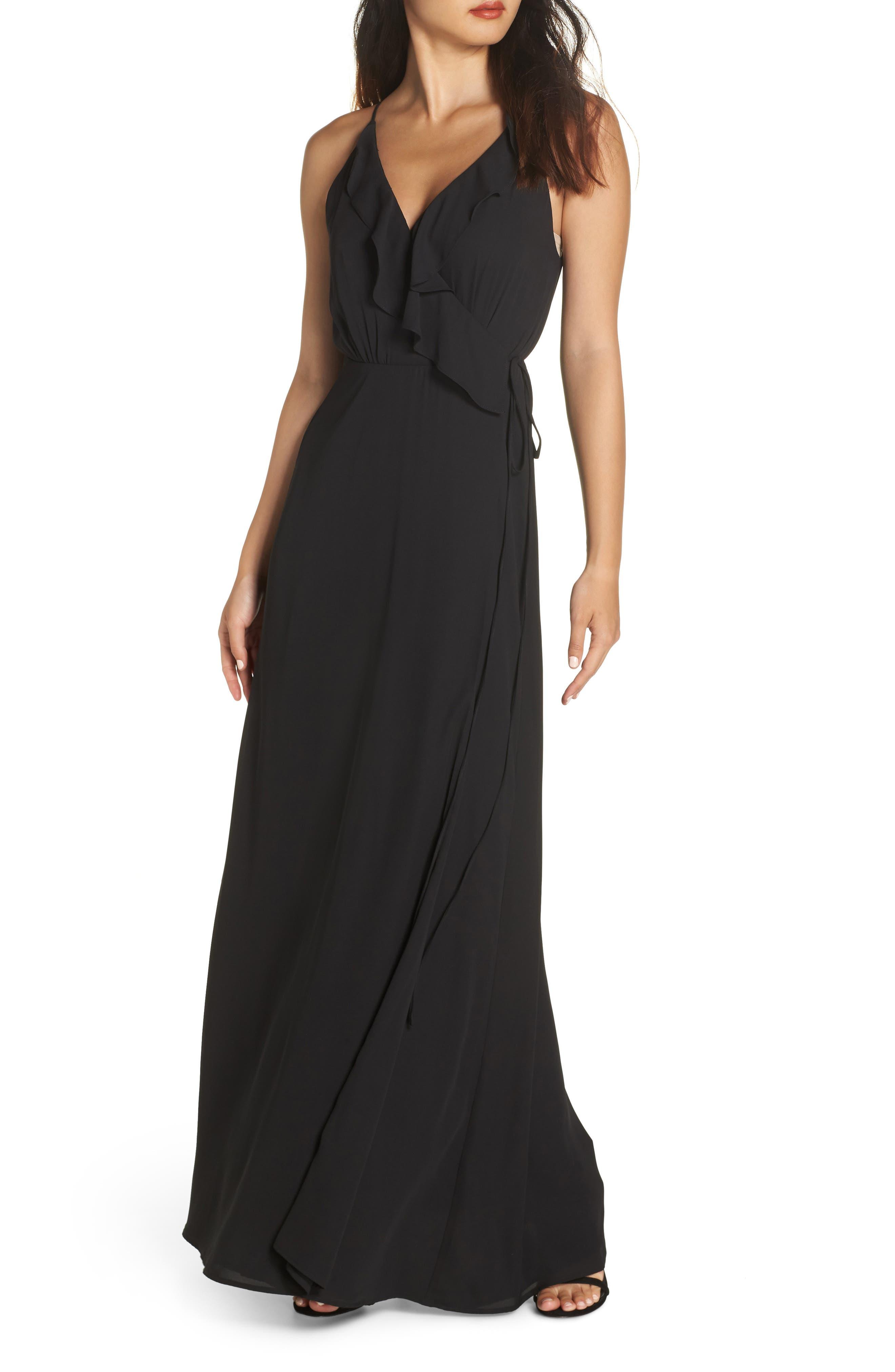 Wayf Jamie Ruffle Wrap Gown, Black