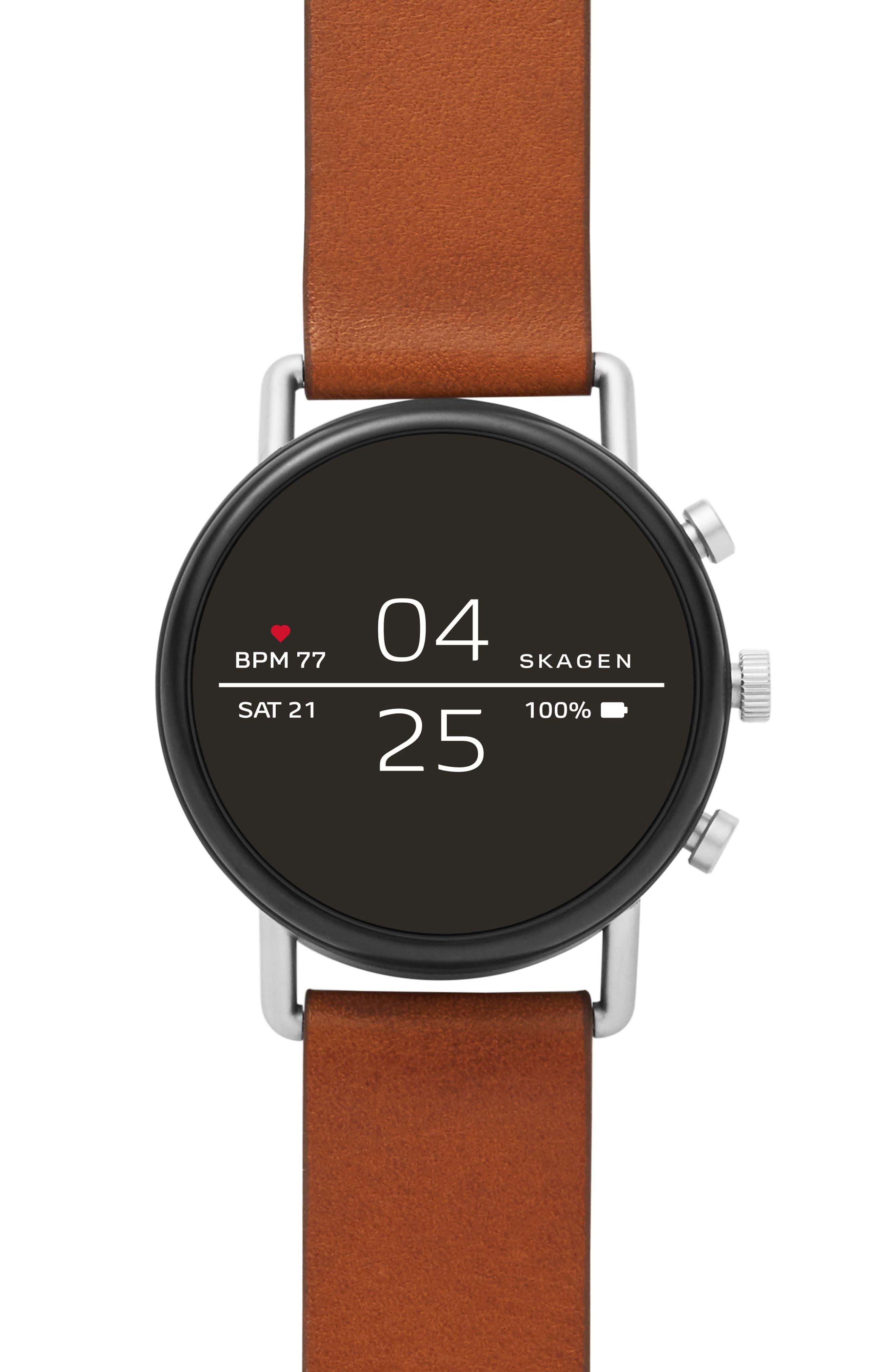 SKAGEN Men'S Falster 2 Brown Leather Strap Touchscreen Smart Watch 40Mm