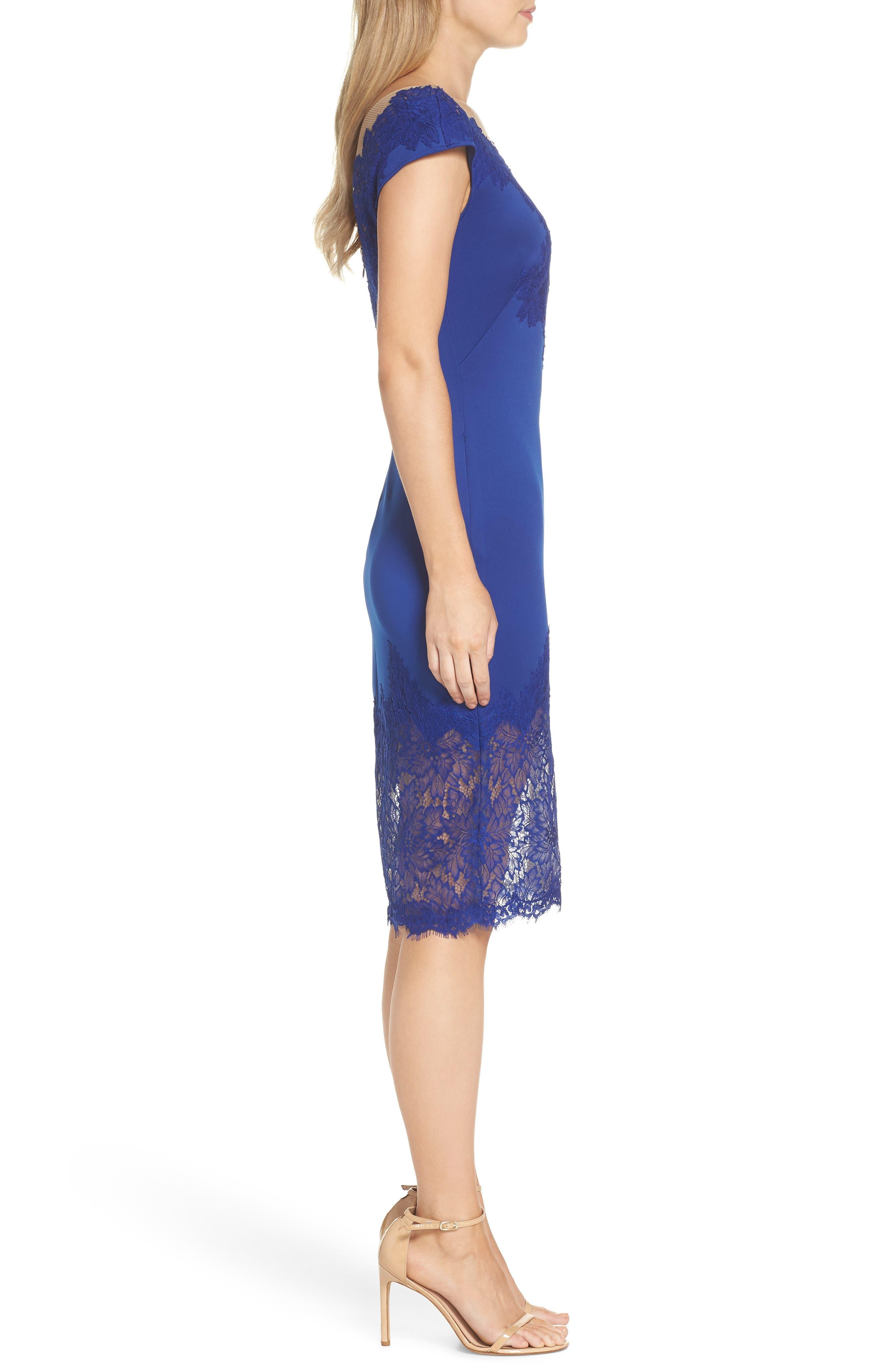 Lace Sheath Dress,                             Alternate thumbnail 3, color,                             LAKE