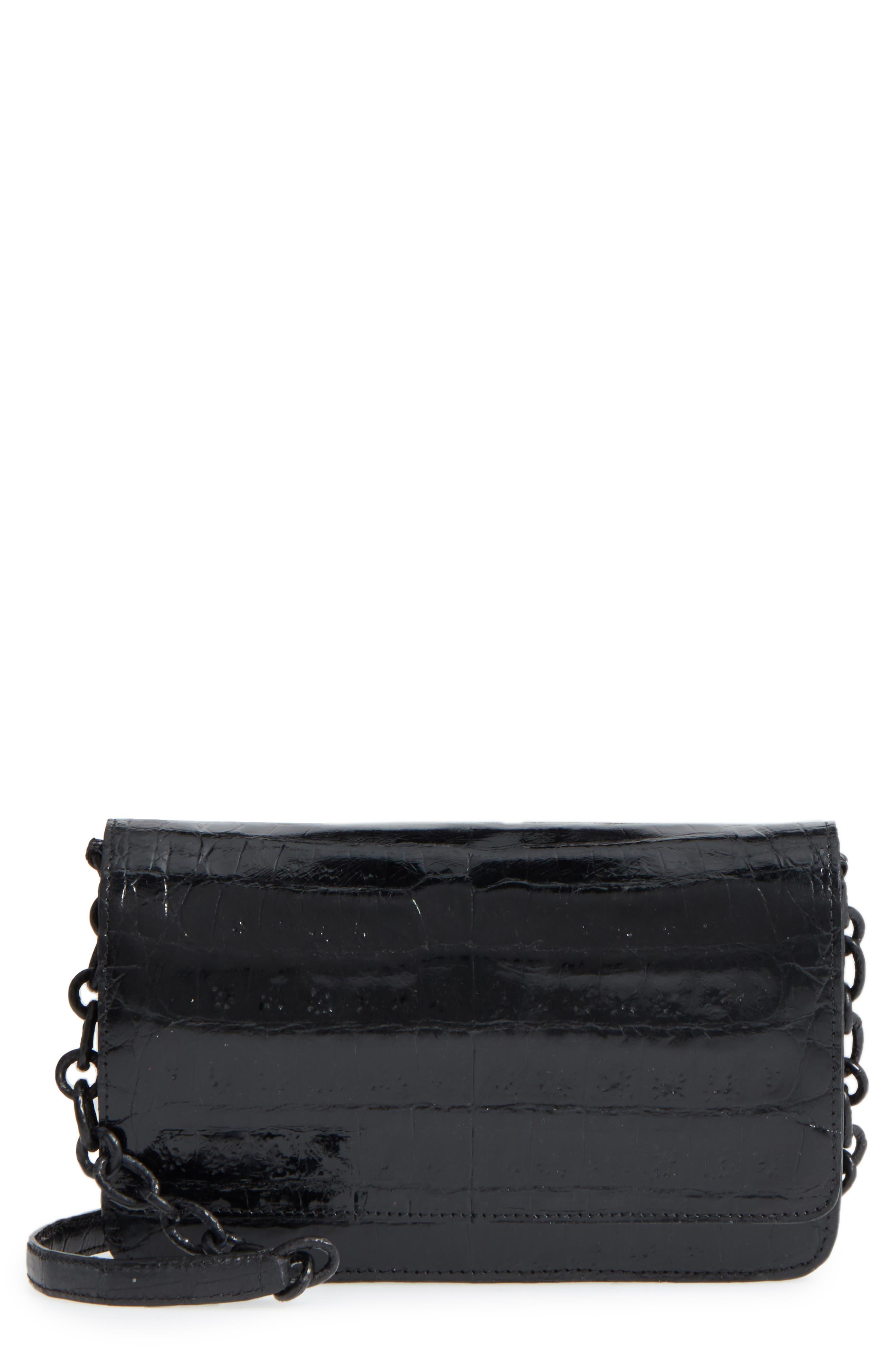 NANCY GONZALEZ,                             Genuine Crocodile Wallet on a Chain,                             Main thumbnail 1, color,                             BLACK SHINY