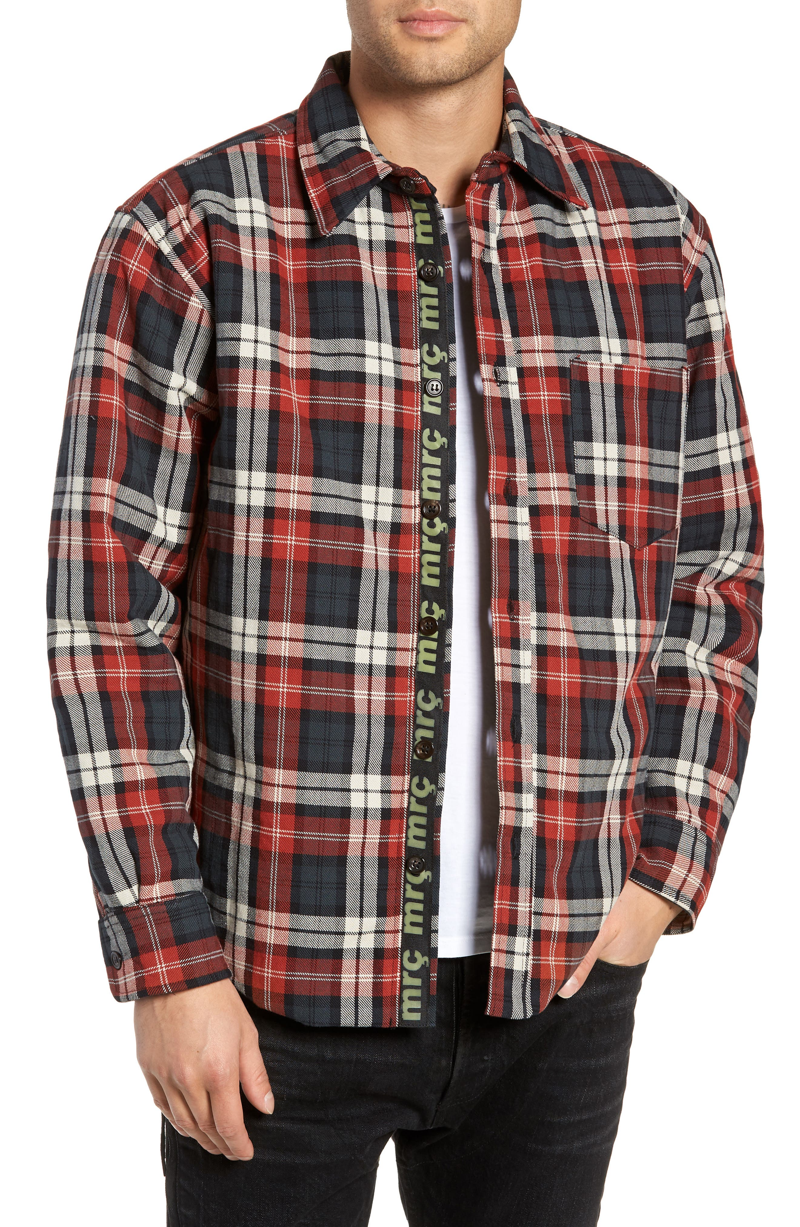 Puffy Classic Fit Work Shirt,                         Main,                         color, RED PLAID