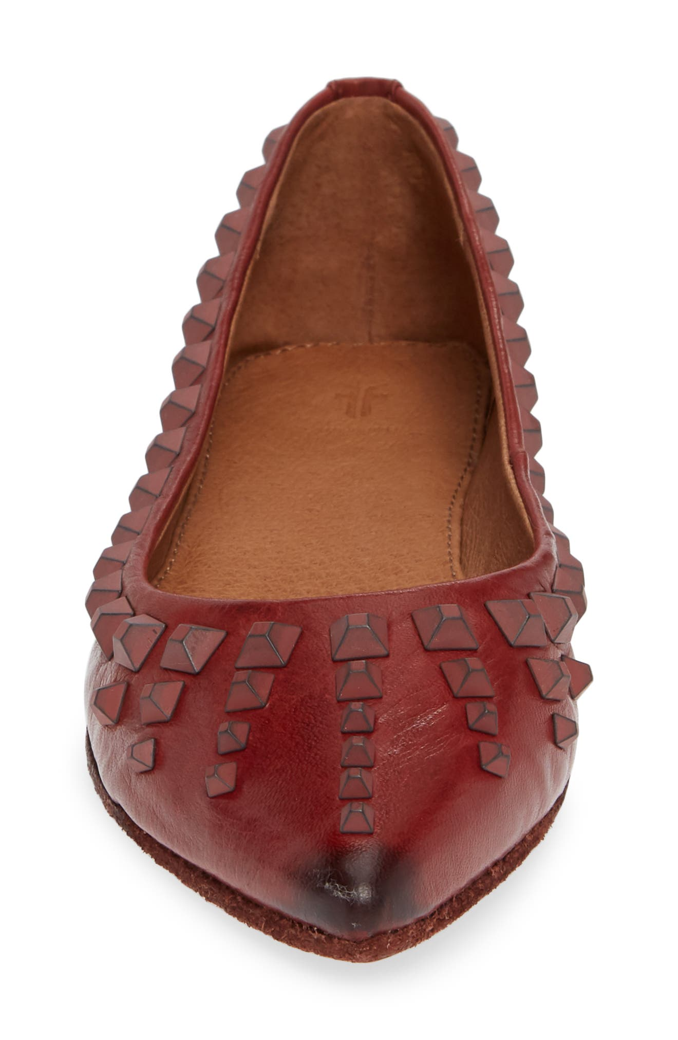 Sienna Deco Stud Ballet Flat,                             Alternate thumbnail 4, color,                             RED CLAY LEATHER