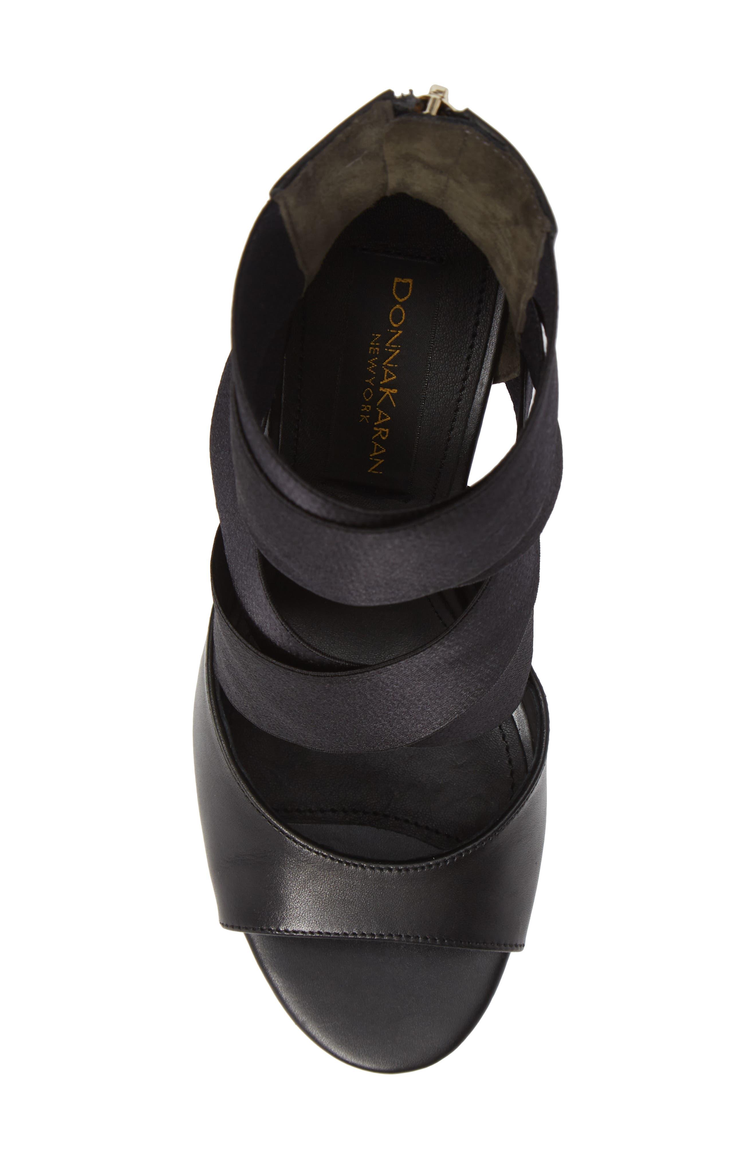 Donna Karan Briana Strappy High Sandal,                             Alternate thumbnail 5, color,                             BLACK CALF SHINY SATIN ELASTIC