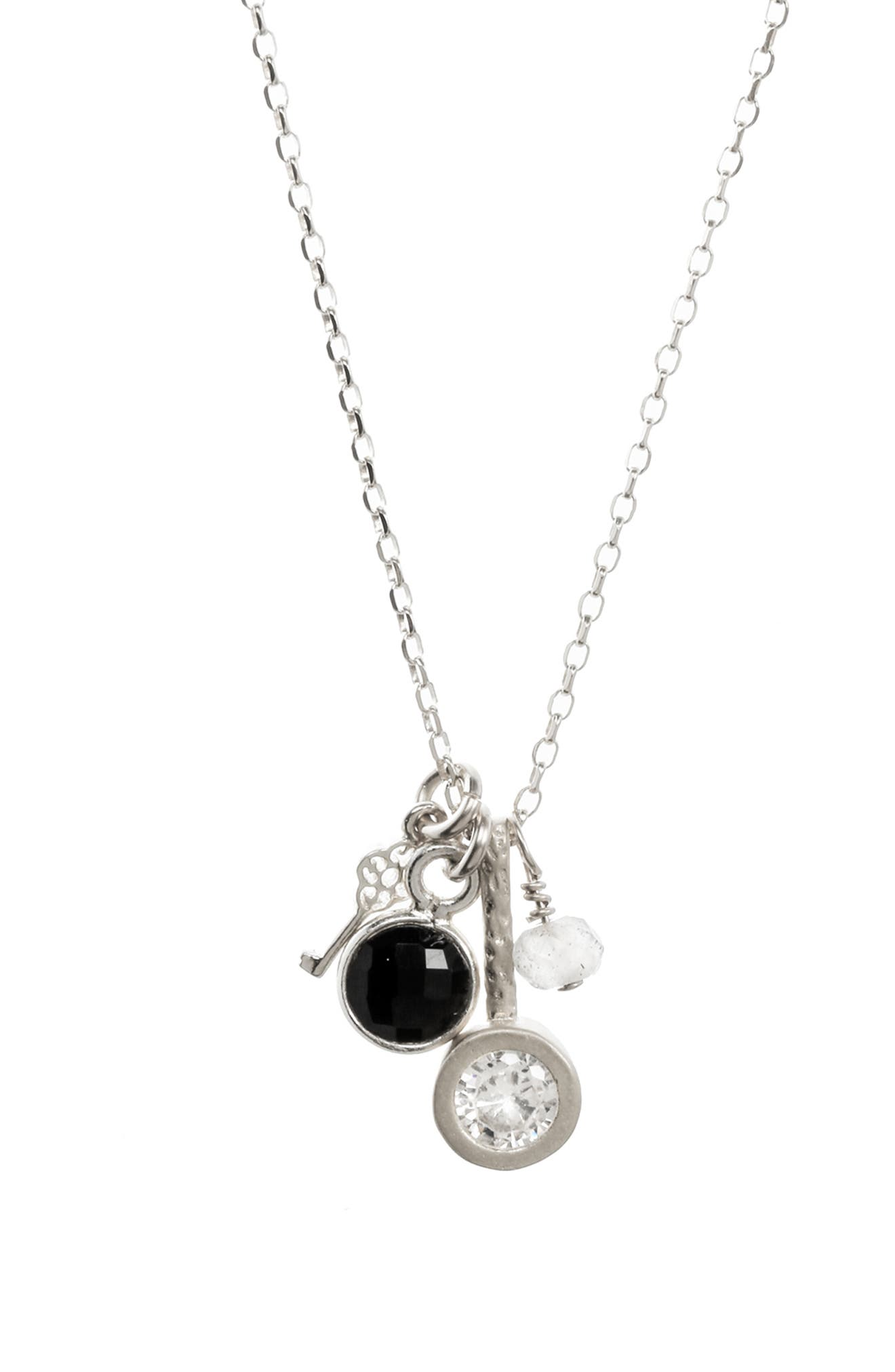 All Good Things Onyx Necklace,                             Alternate thumbnail 3, color,                             SILVER