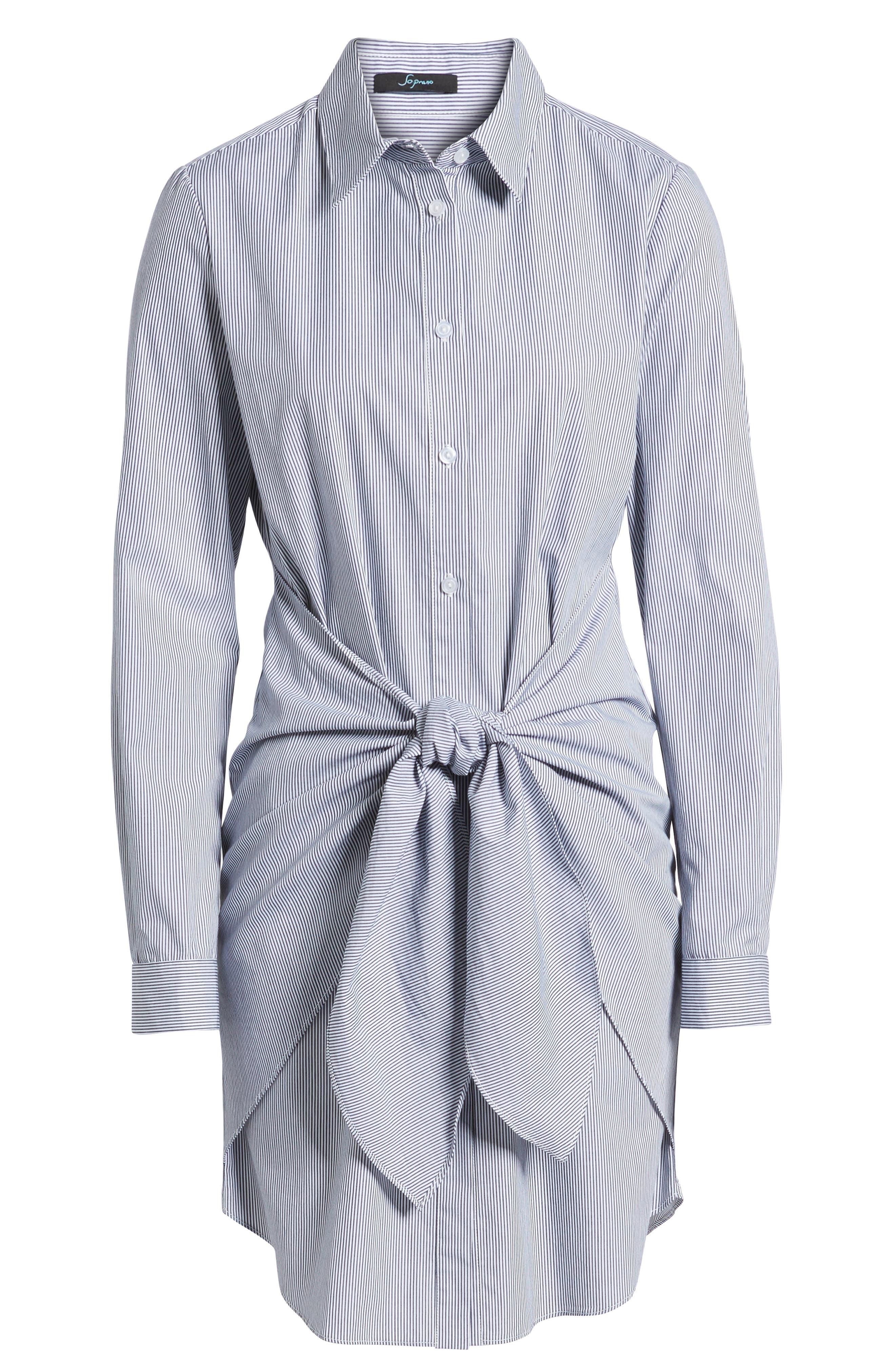 Tie Waist Shirtdress,                             Alternate thumbnail 6, color,                             001