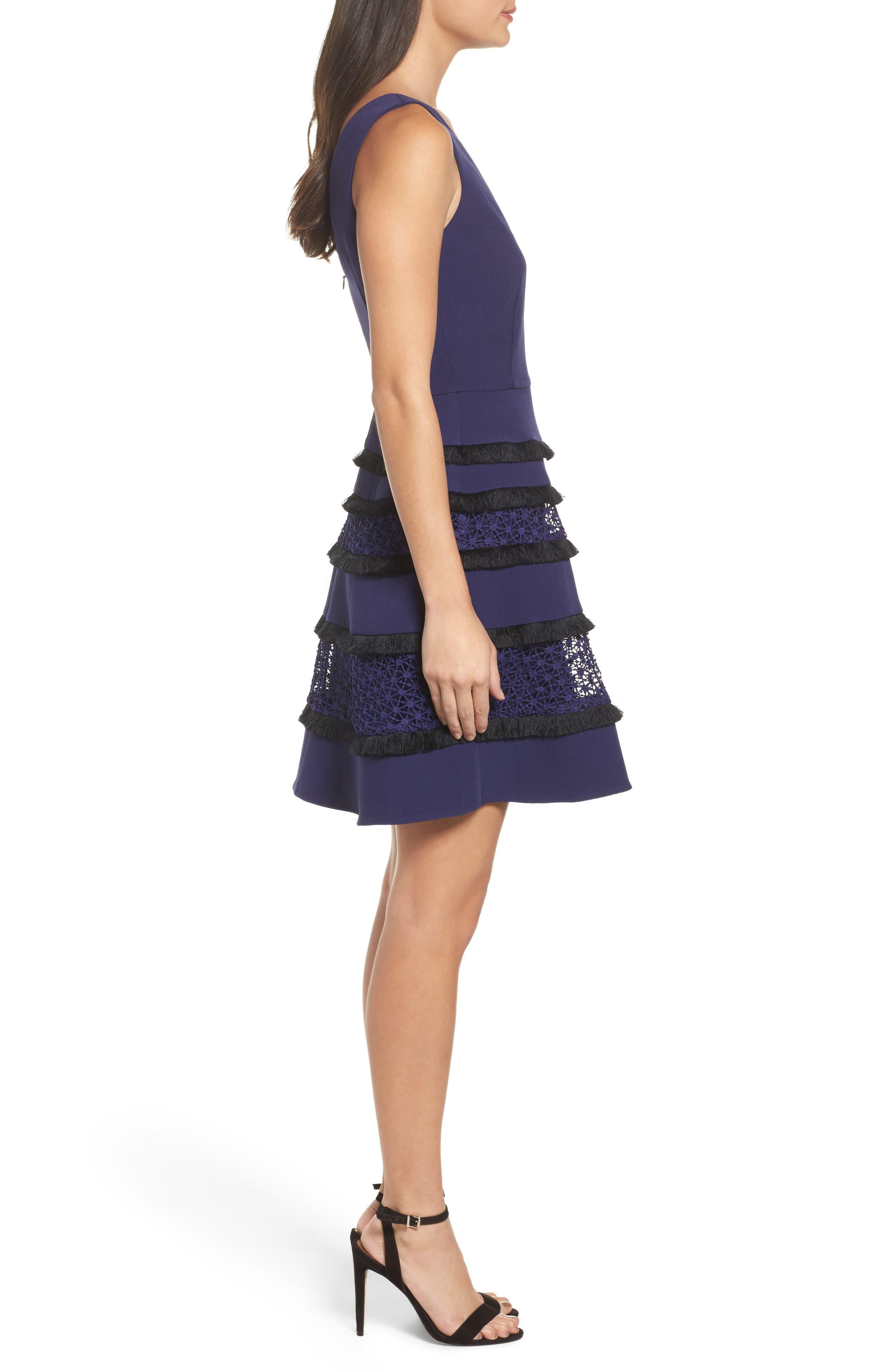 Stripe Fit & Flare Dress,                             Alternate thumbnail 3, color,                             410