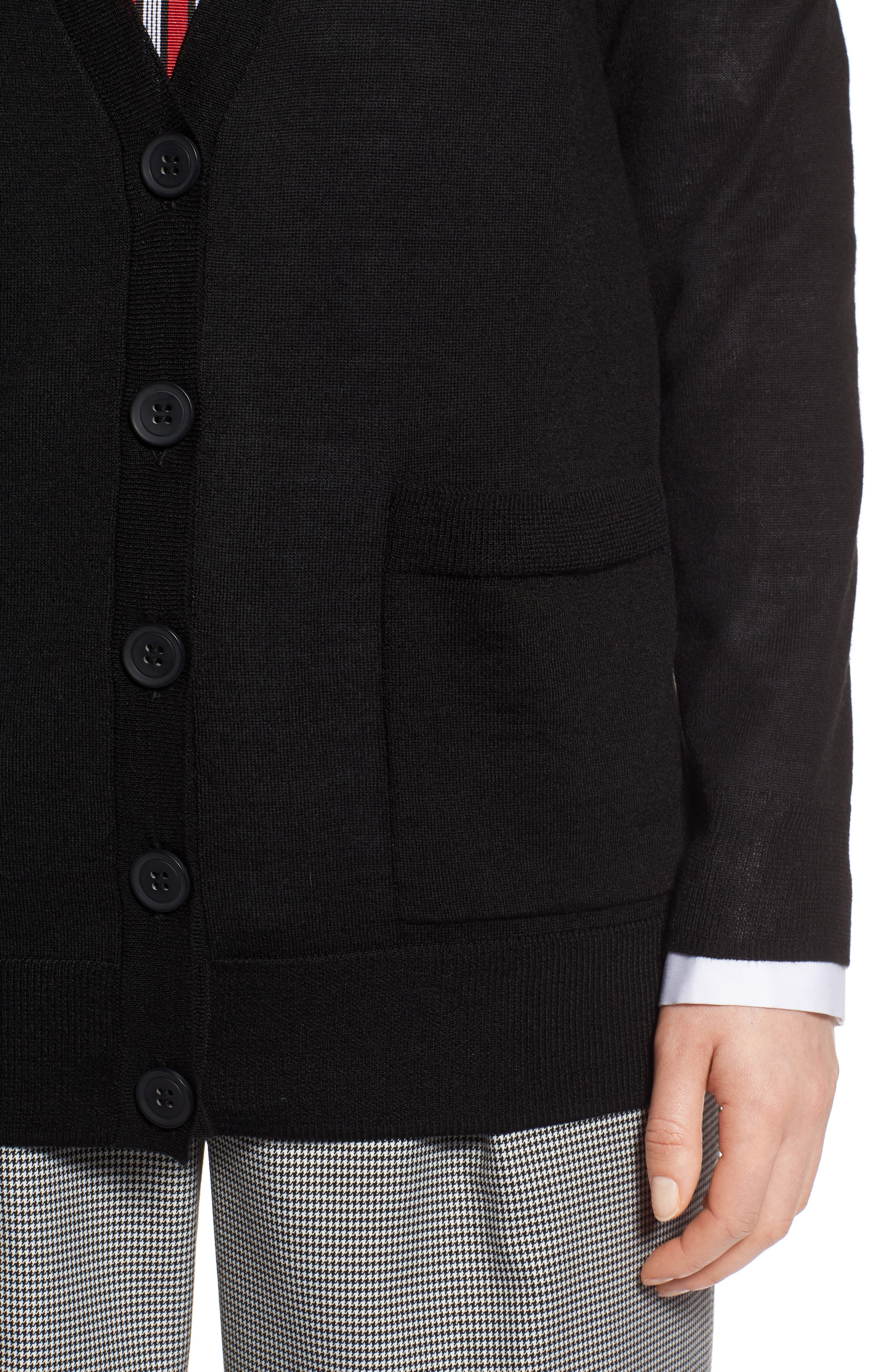 V-Neck Merino Wool Cardigan,                             Alternate thumbnail 4, color,                             BLACK