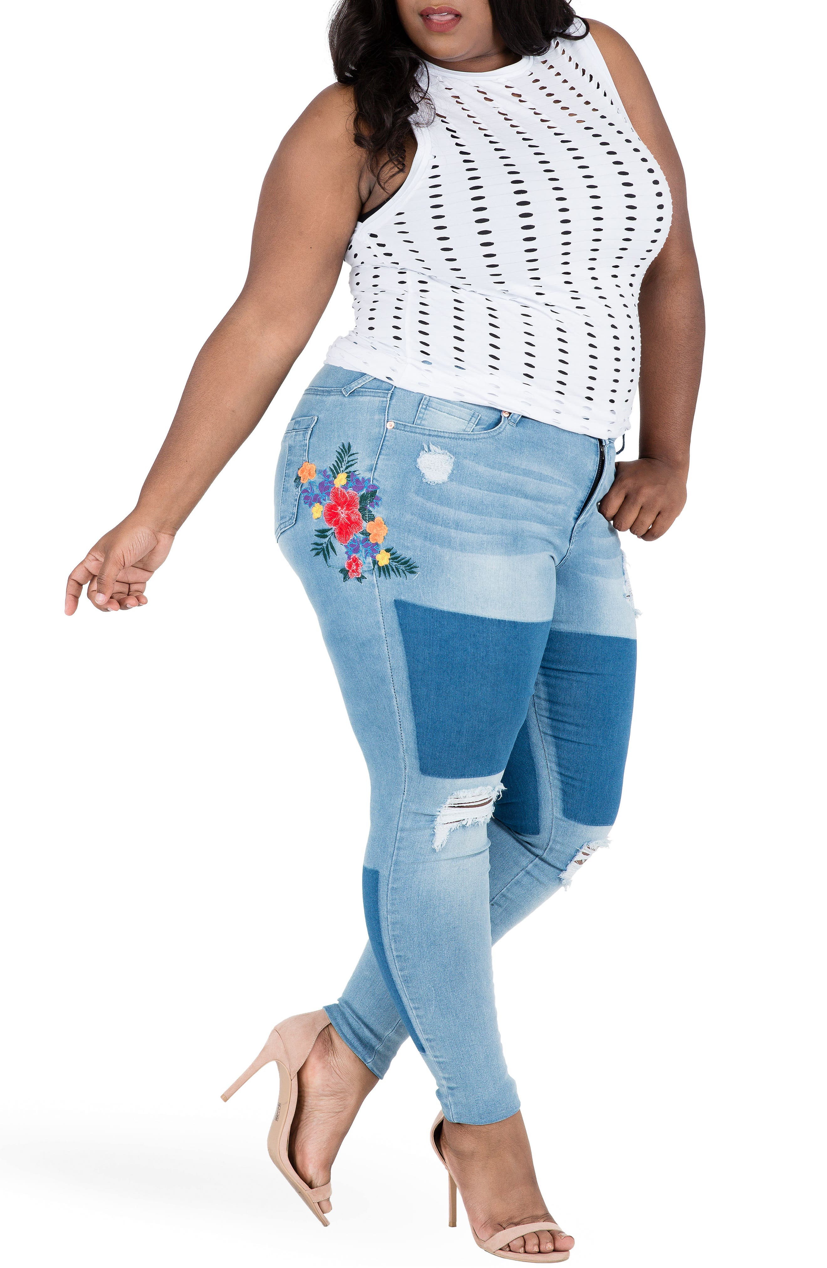 Madison Ripped & Embroidered Skinny Jeans,                             Alternate thumbnail 5, color,                             BLUE