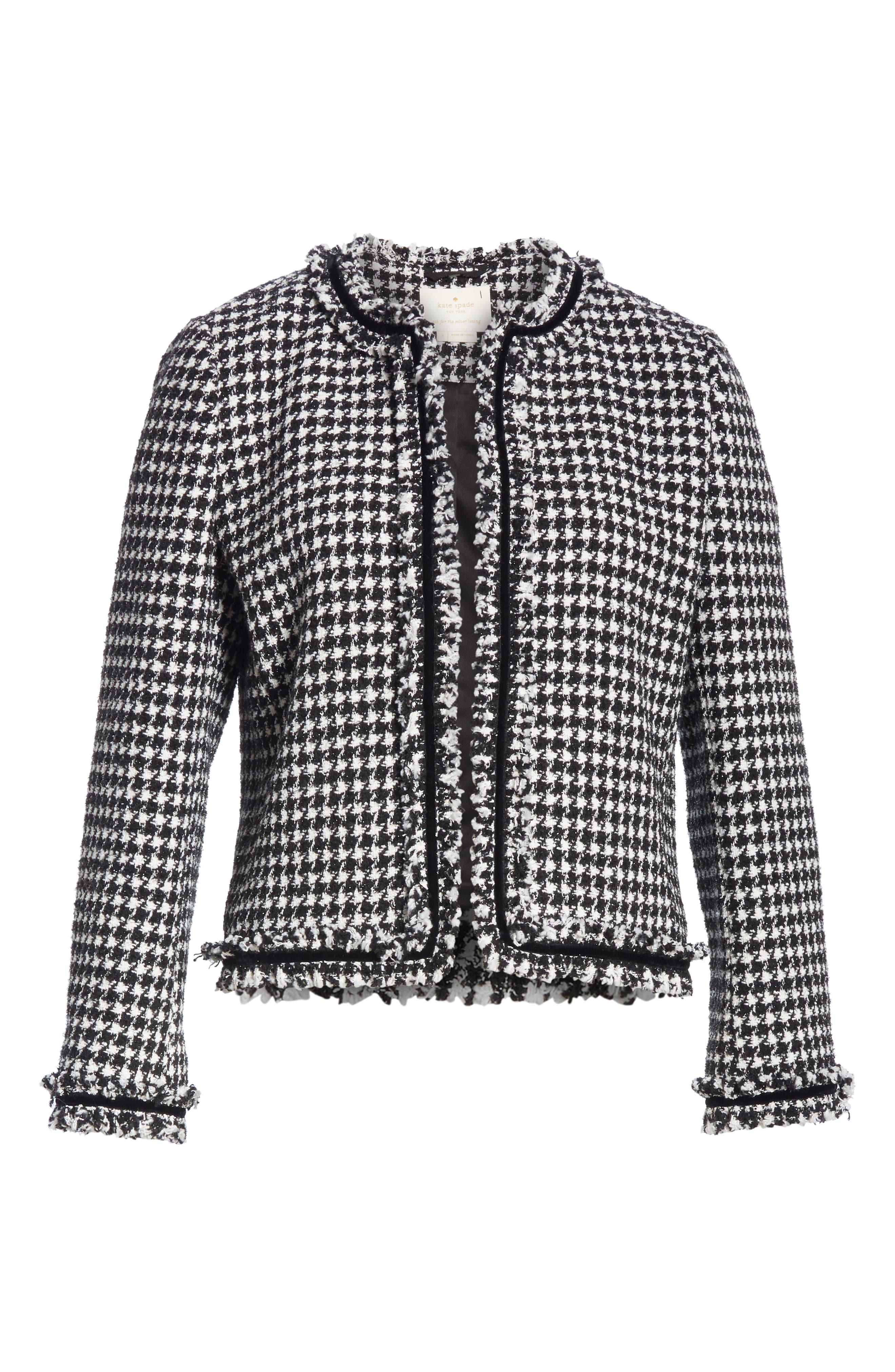 houndstooth tweed jacket,                             Alternate thumbnail 5, color,                             BLACK/ CREAM
