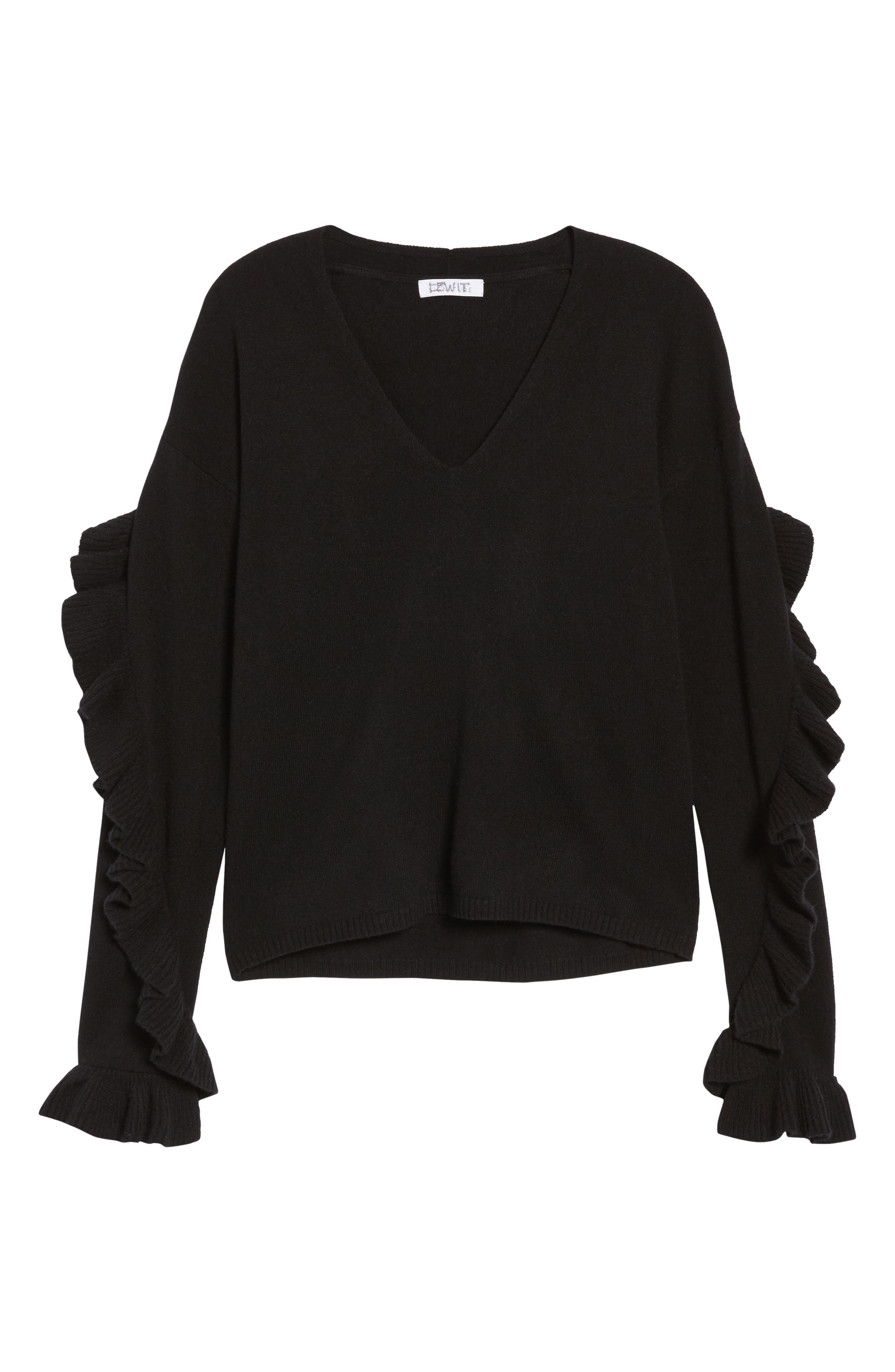 Ruffle Sleeve Cashmere Sweater,                             Alternate thumbnail 11, color,