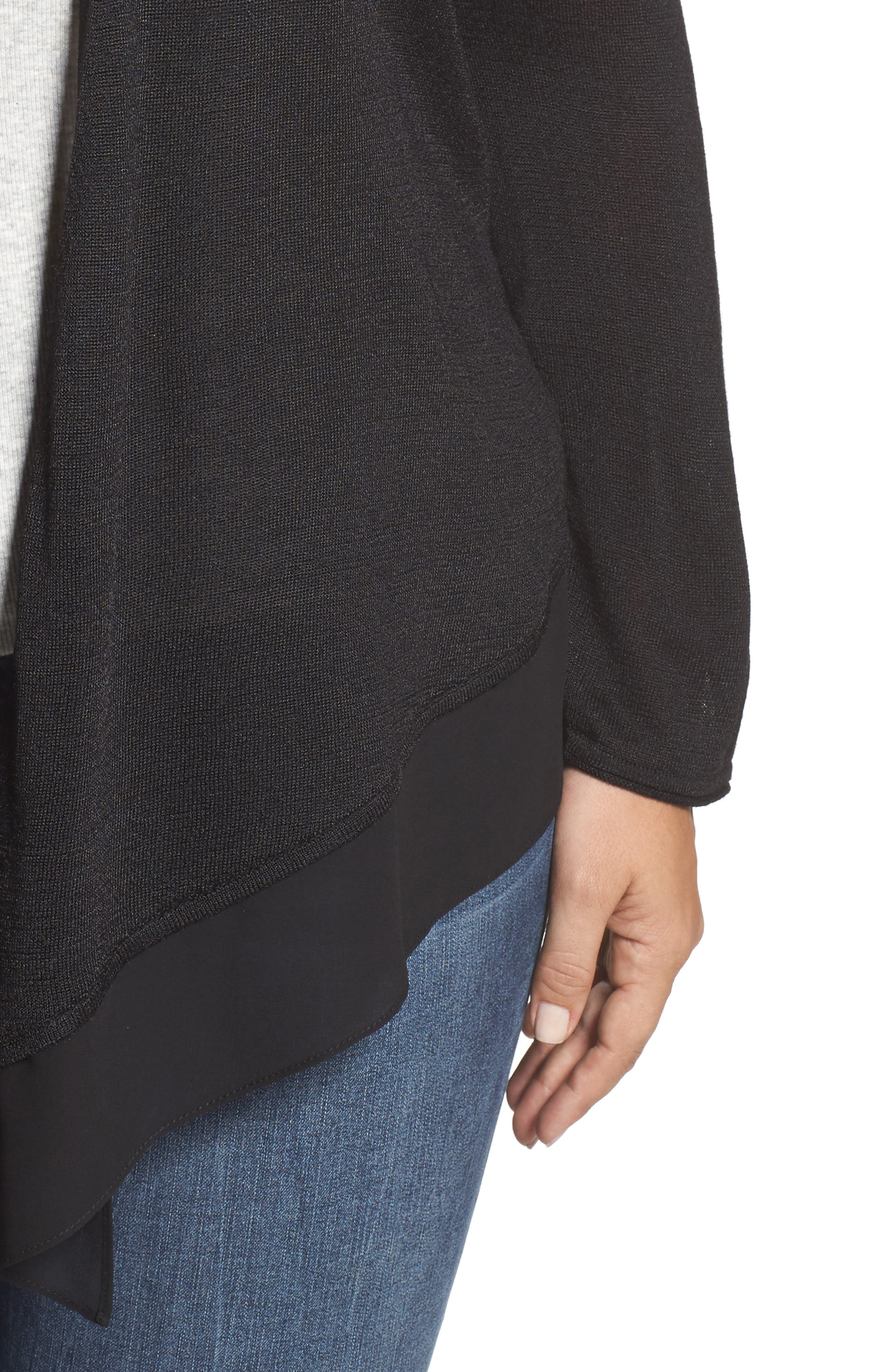 NIC+ZOE,                             Paired Up Silk Blend Cardigan,                             Alternate thumbnail 4, color,                             004