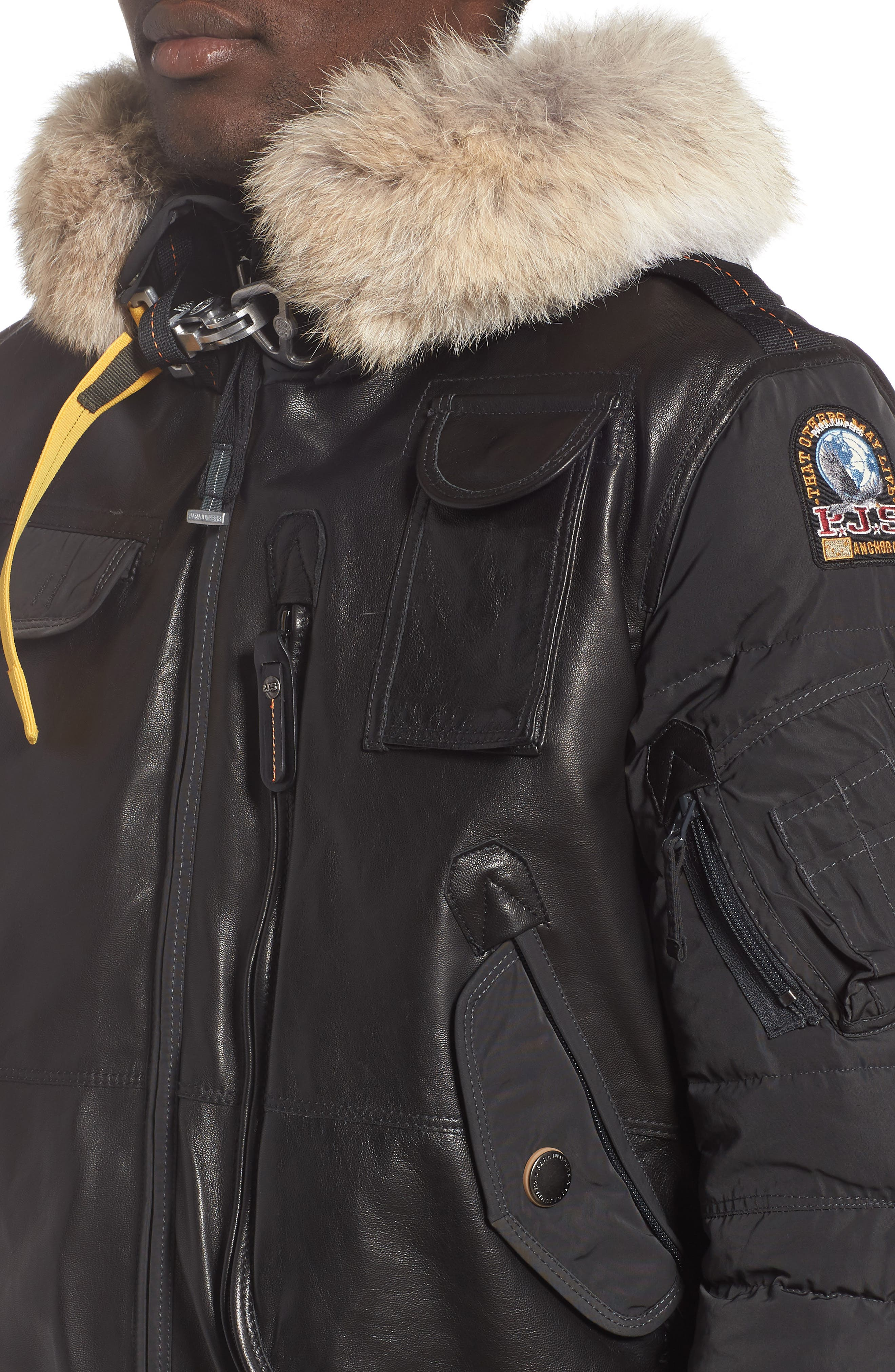 Grizzly Down Bomber Jacket with Genuine Coyote Fur Trim,                             Alternate thumbnail 4, color,                             ANTHRACITE