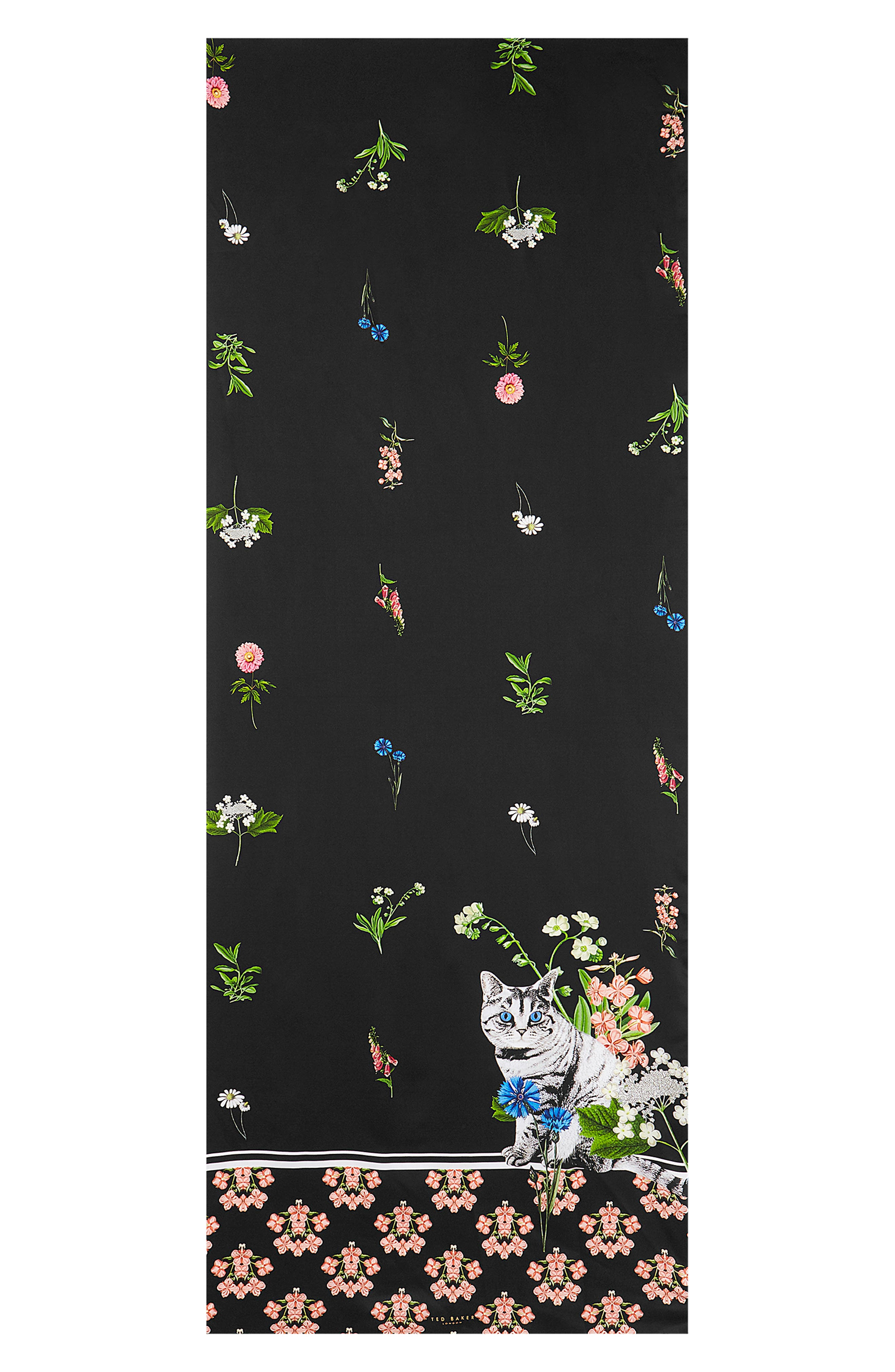 Florence Long Silk Scarf,                             Alternate thumbnail 2, color,                             BLACK