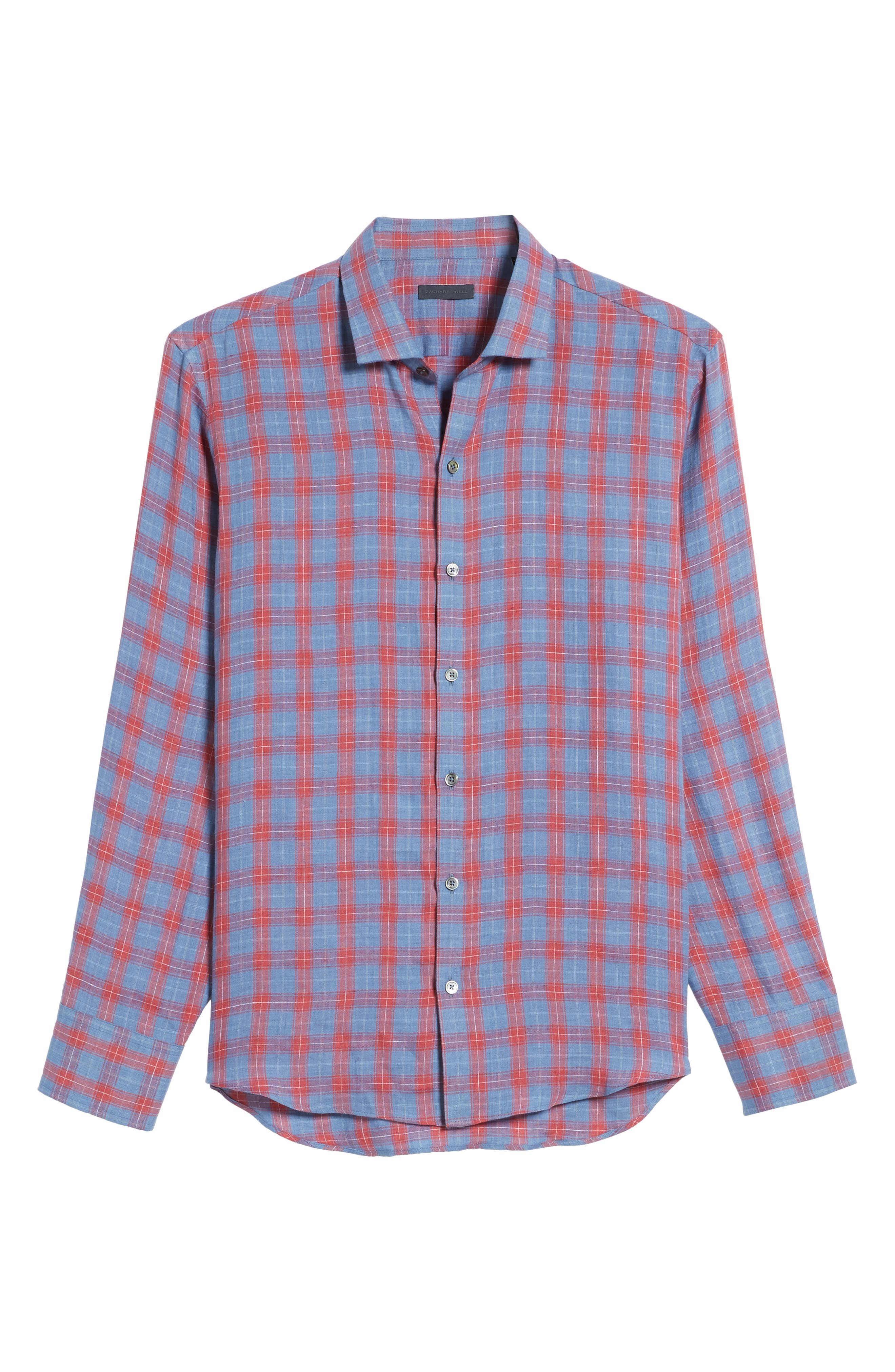 Liam Plaid Woven Sport Shirt,                             Alternate thumbnail 6, color,                             RED