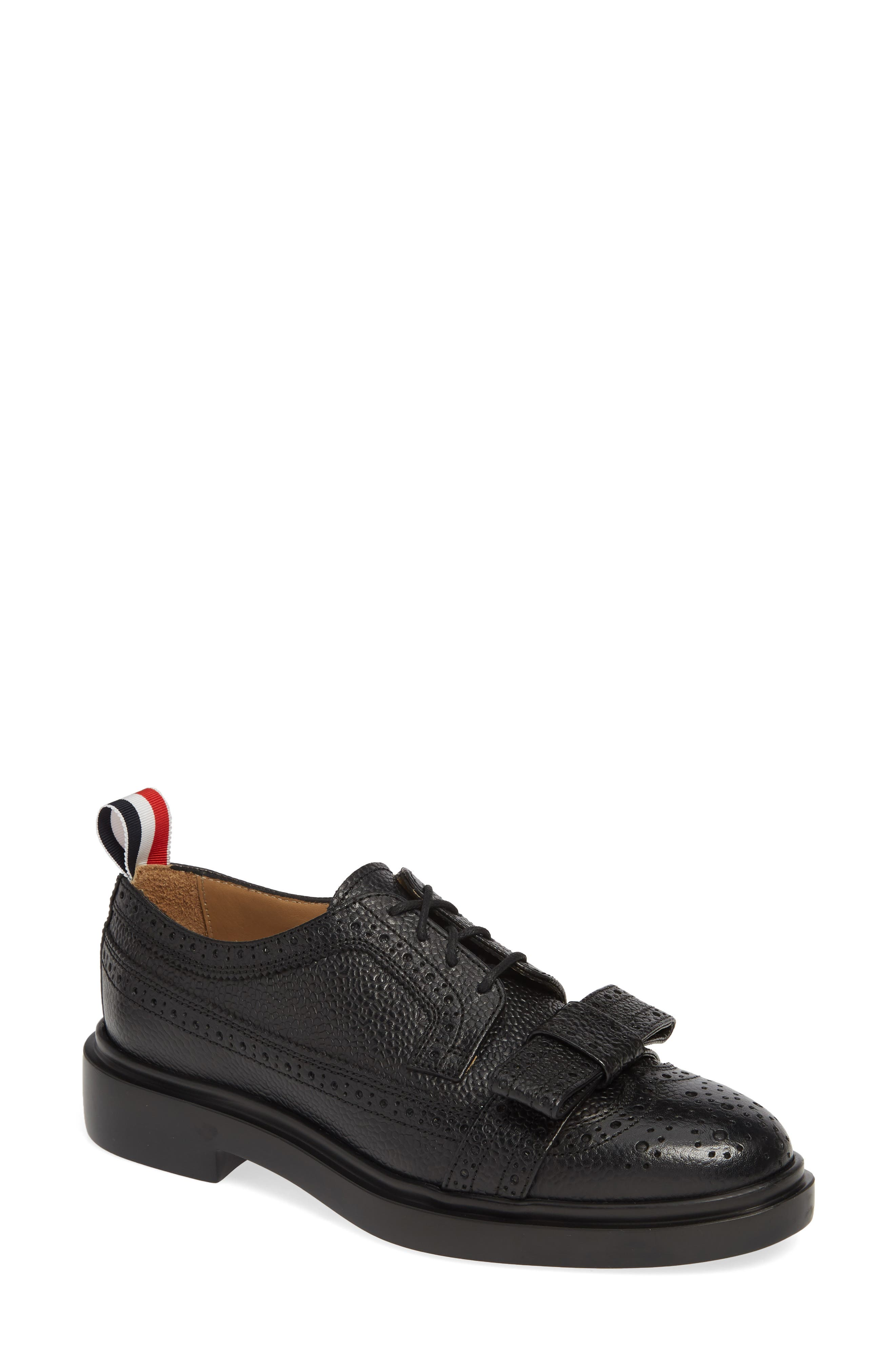 Bow Brogued Oxford, Main, color, BLACK