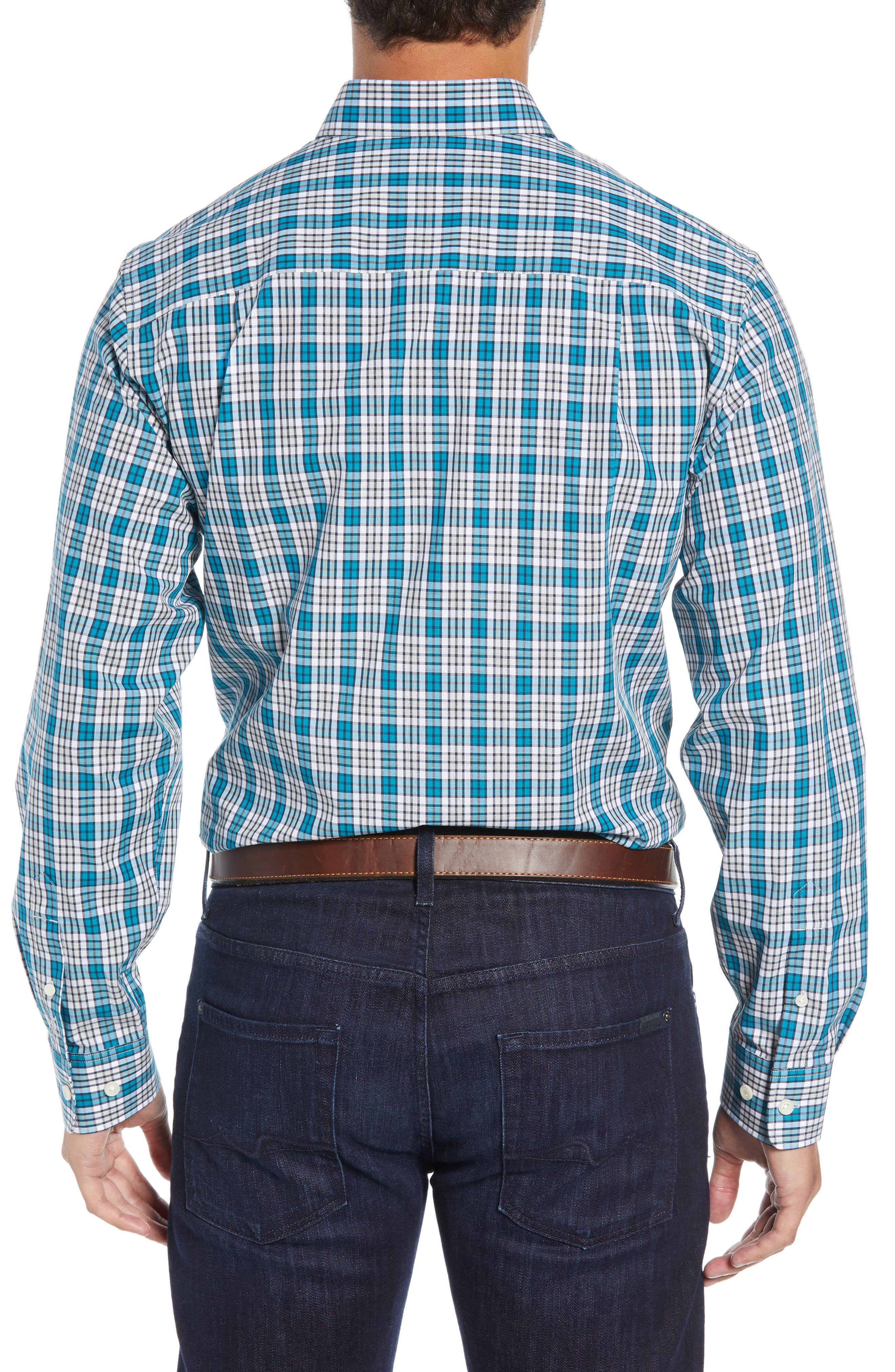 Harris Regular Fit Non-Iron Plaid Sport Shirt,                             Alternate thumbnail 3, color,                             AQUATIC
