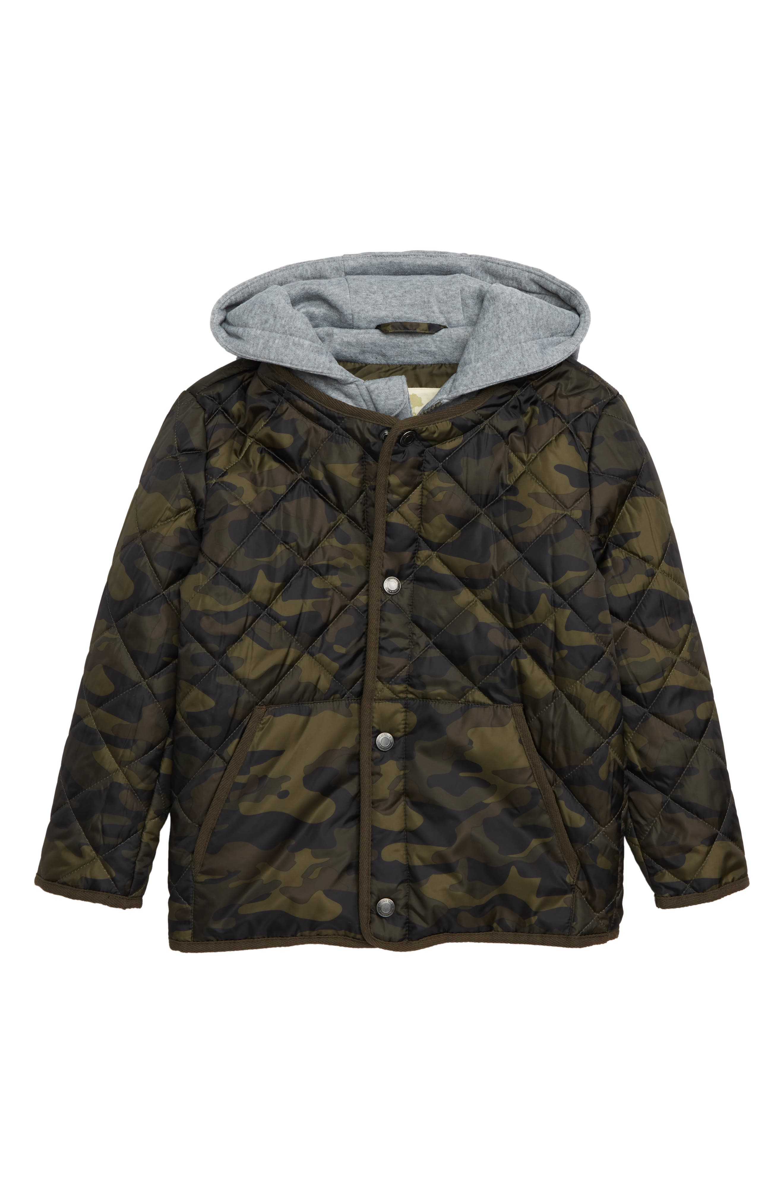 Quilted Camouflage Jacket,                         Main,                         color, OLIVE SARMA CAMOUFLAGE