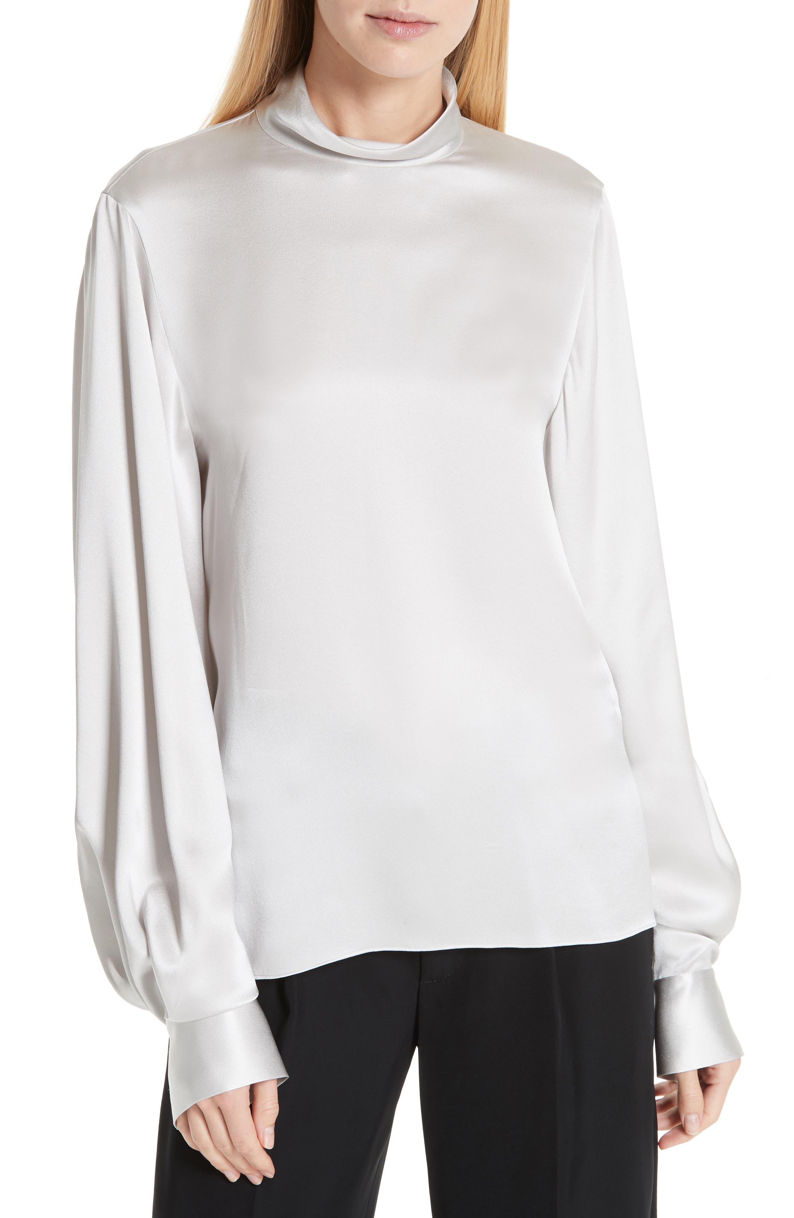 High Neck Silk Blouse, Main, color, CELESTE