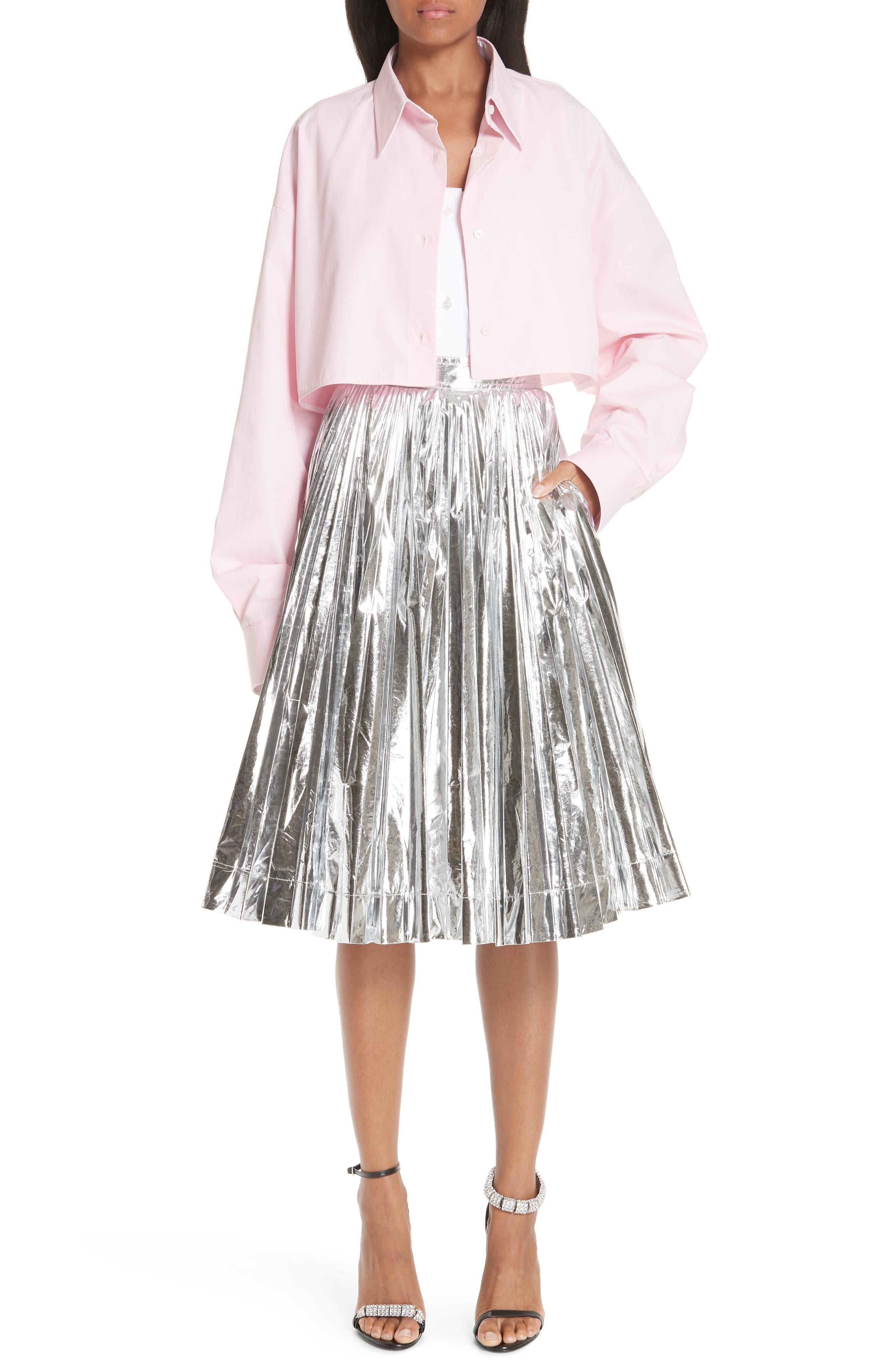 Layered Cotton Poplin Shirt,                             Alternate thumbnail 2, color,                             ROSE OPTIC WHITE