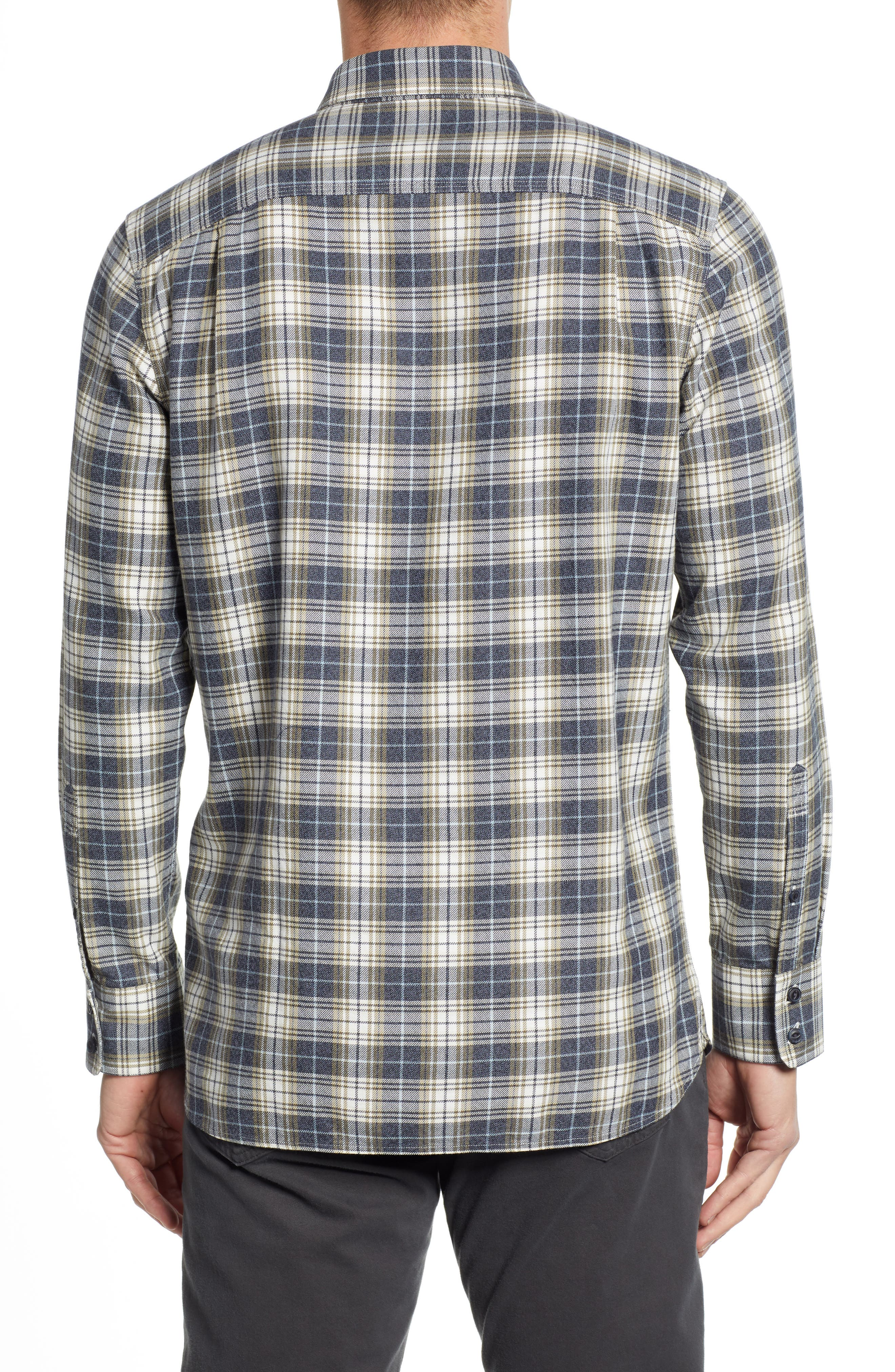 Trucker Regular Fit Plaid Flannel Shirt,                             Alternate thumbnail 2, color,                             IVORY EGRET TWILL PLAID