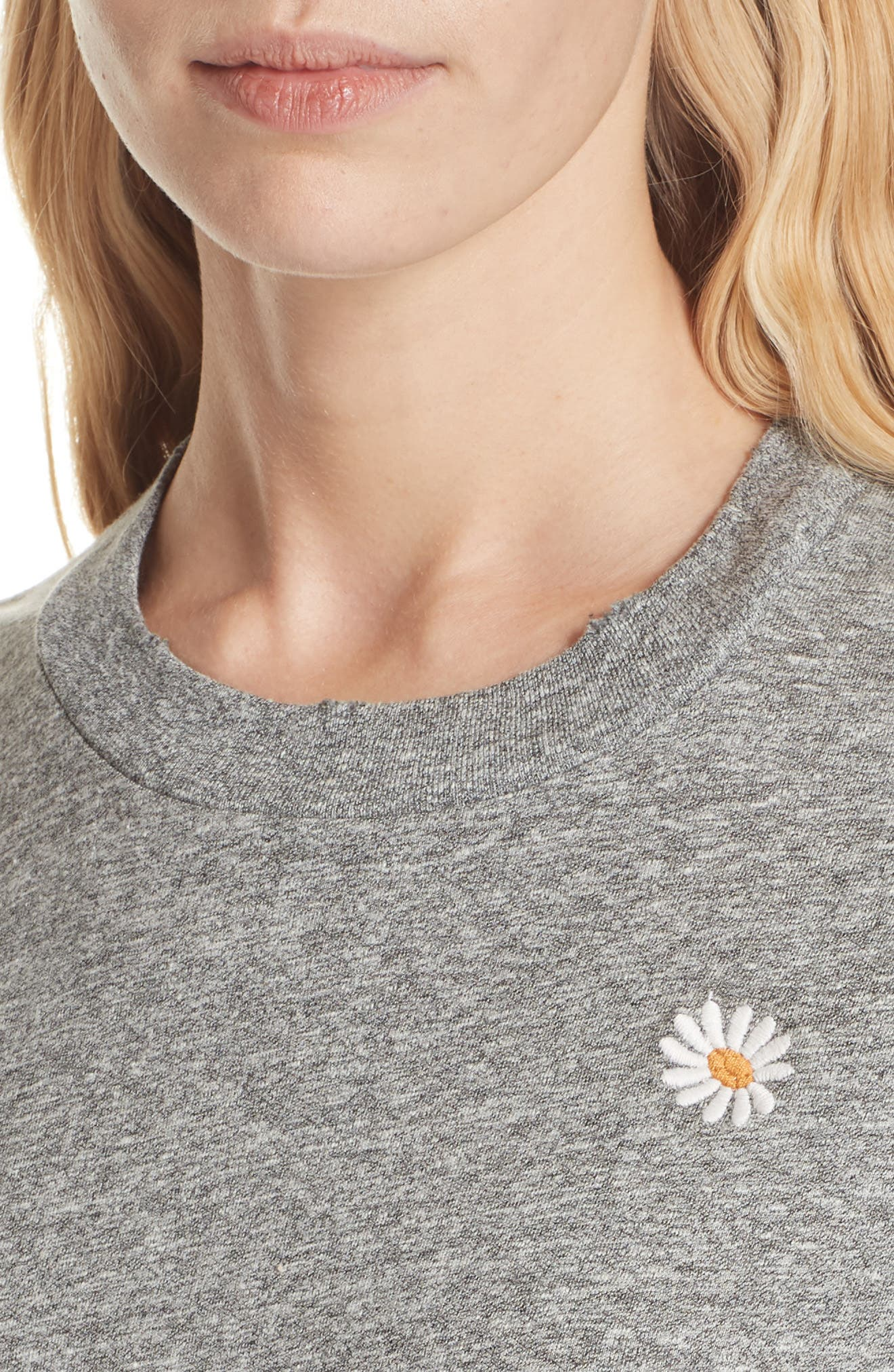 The Embroidered Slim Tee,                             Alternate thumbnail 4, color,                             HEATHER GREY W/ DAISY EMB
