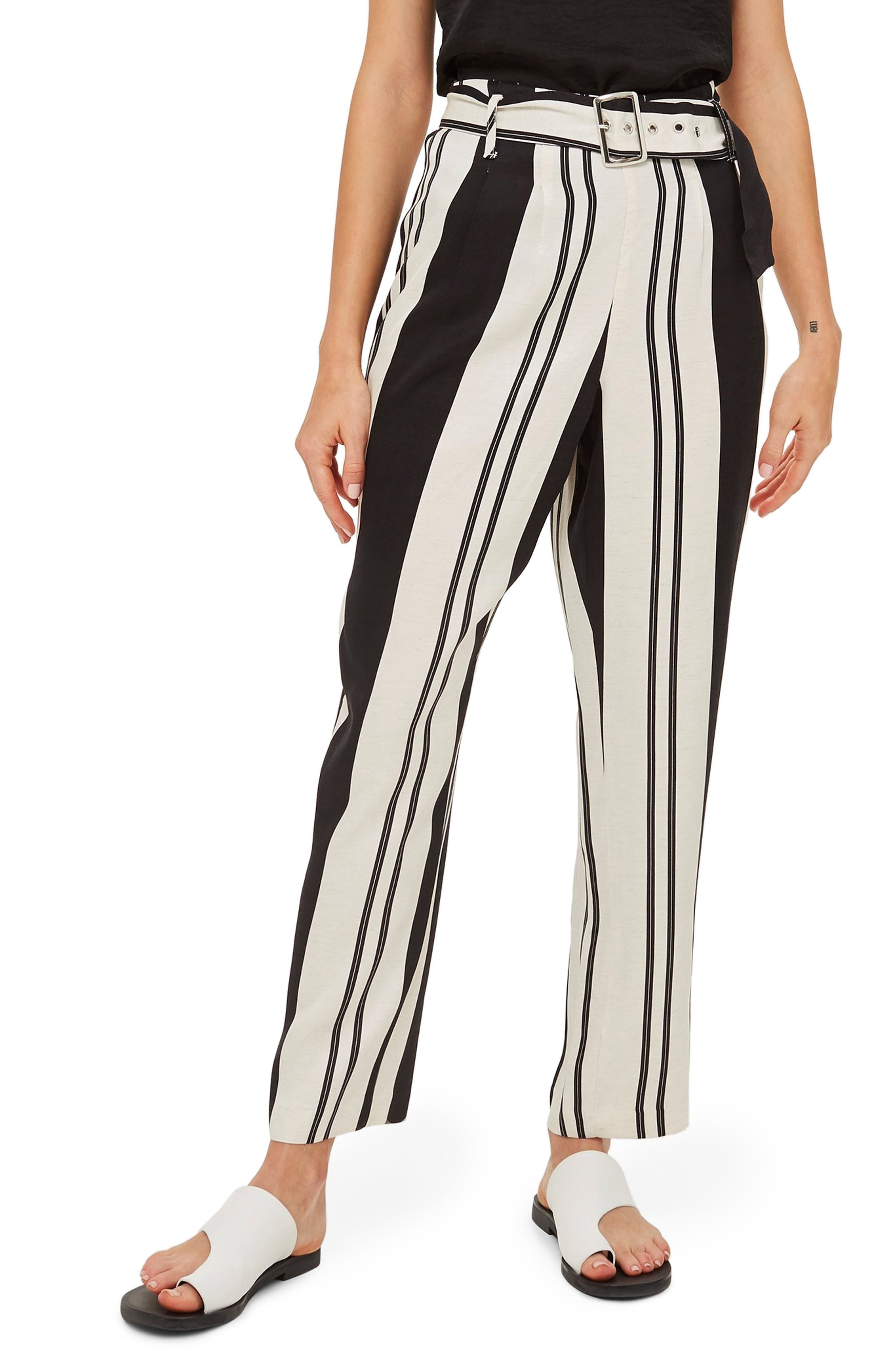 Dolly Stripe Tapered Trousers,                         Main,                         color, BLACK MULTI