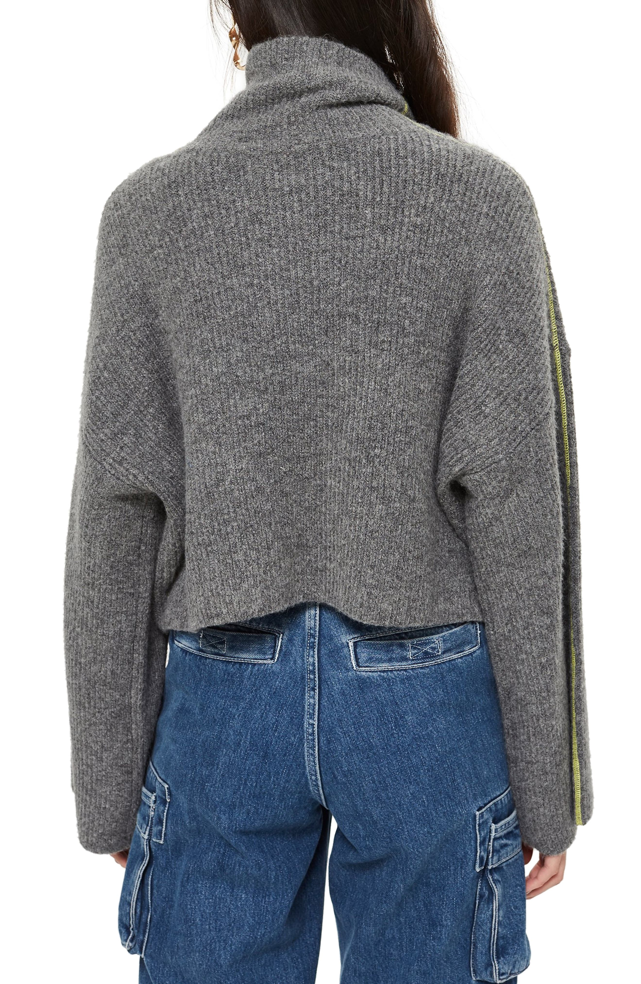 TOPSHOP,                             Roll Neck Crop Sweater,                             Alternate thumbnail 2, color,                             CHARCOAL