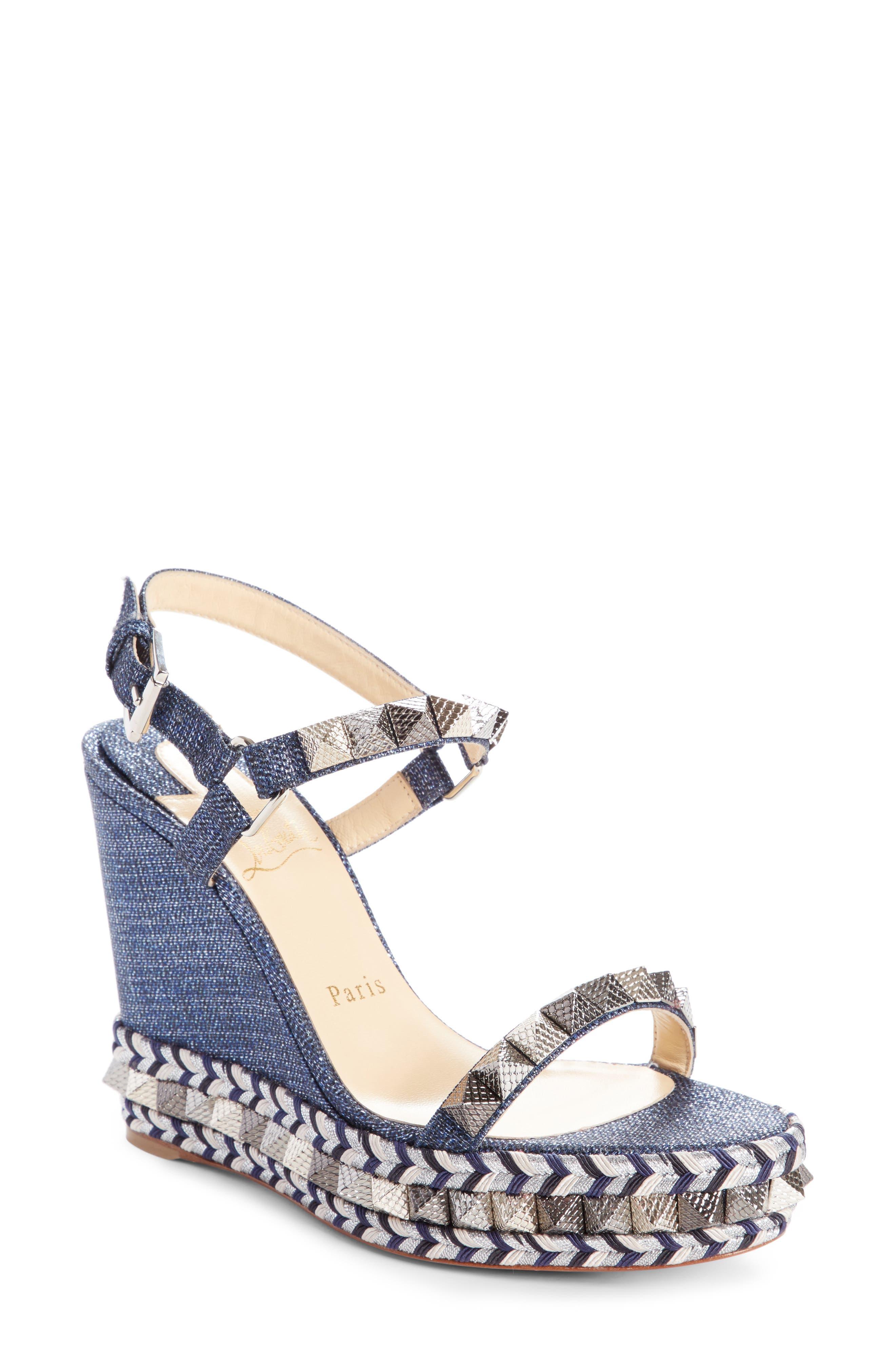 Pyraclou Studded Platform Wedge Sandal,                             Main thumbnail 1, color,                             DENIM
