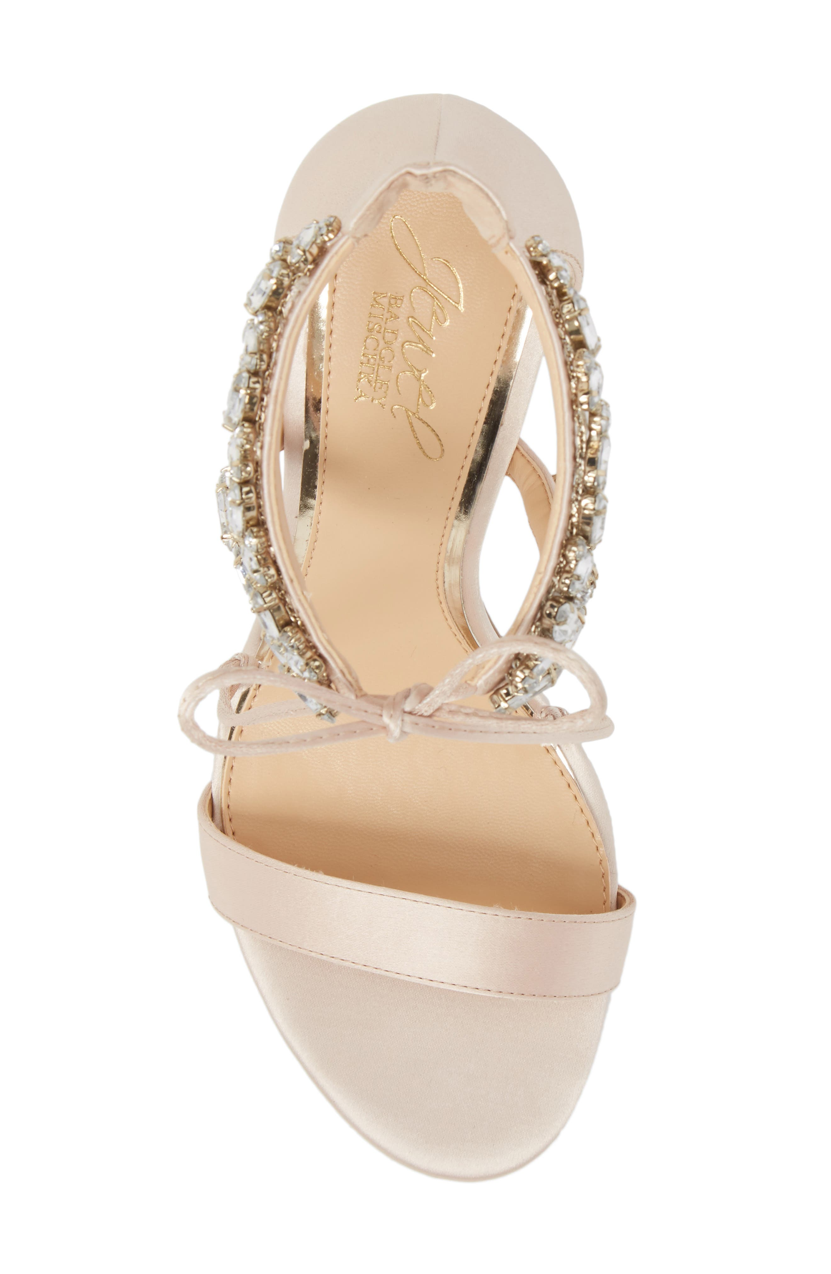 JEWEL BADGLEY MISCHKA,                             Thamar Embellished Sandal,                             Alternate thumbnail 5, color,                             CHAMPAGNE SATIN