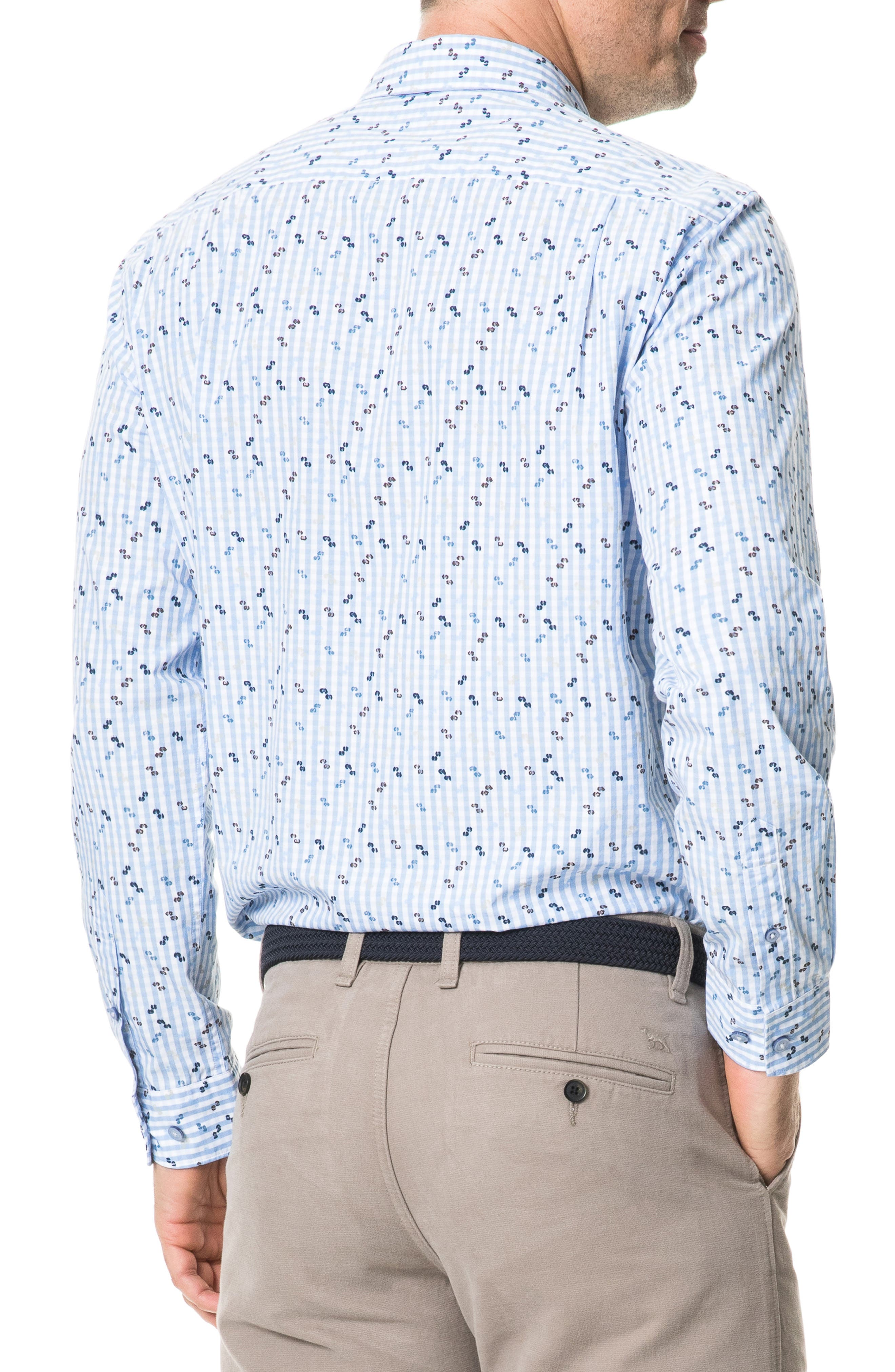 Mitchies Crossing Regular Fit Spotted Gingham Sport Shirt,                             Alternate thumbnail 3, color,                             PEACOAT