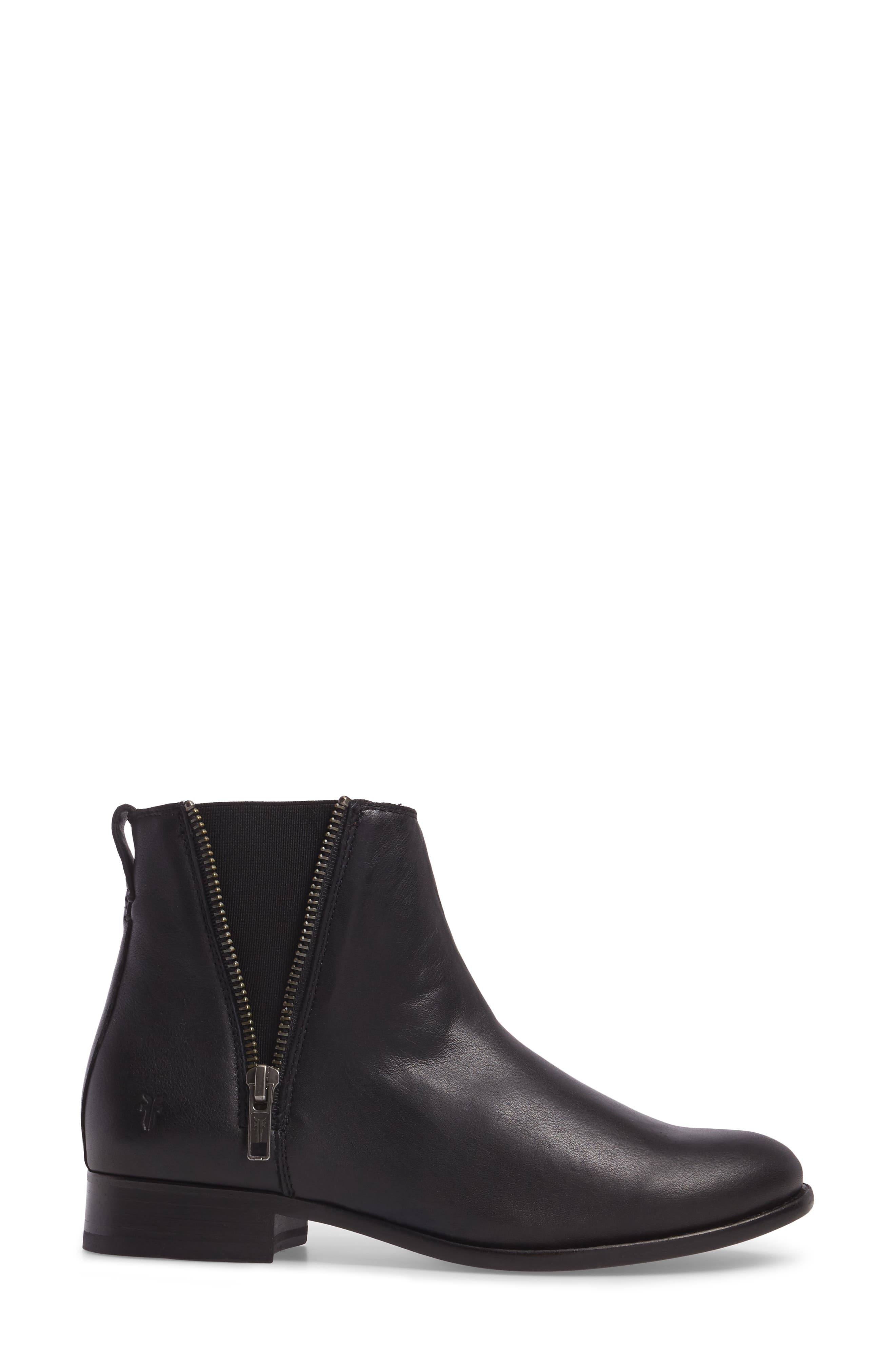 Carly Chelsea Boot,                             Alternate thumbnail 3, color,                             BLACK LEATHER