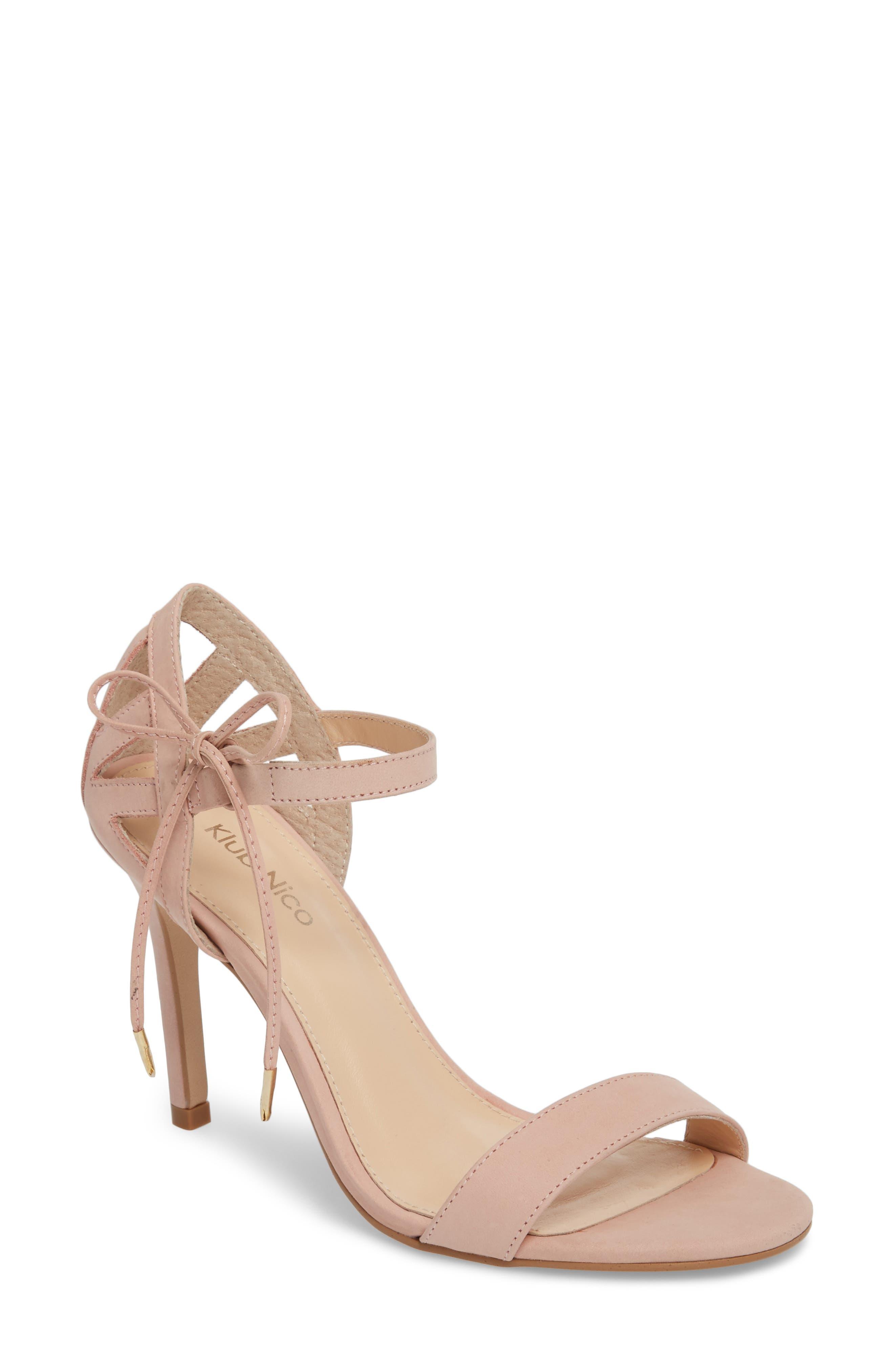 Adelyn Bow Tie Sandal,                             Main thumbnail 1, color,                             QUARTZ LEATHER