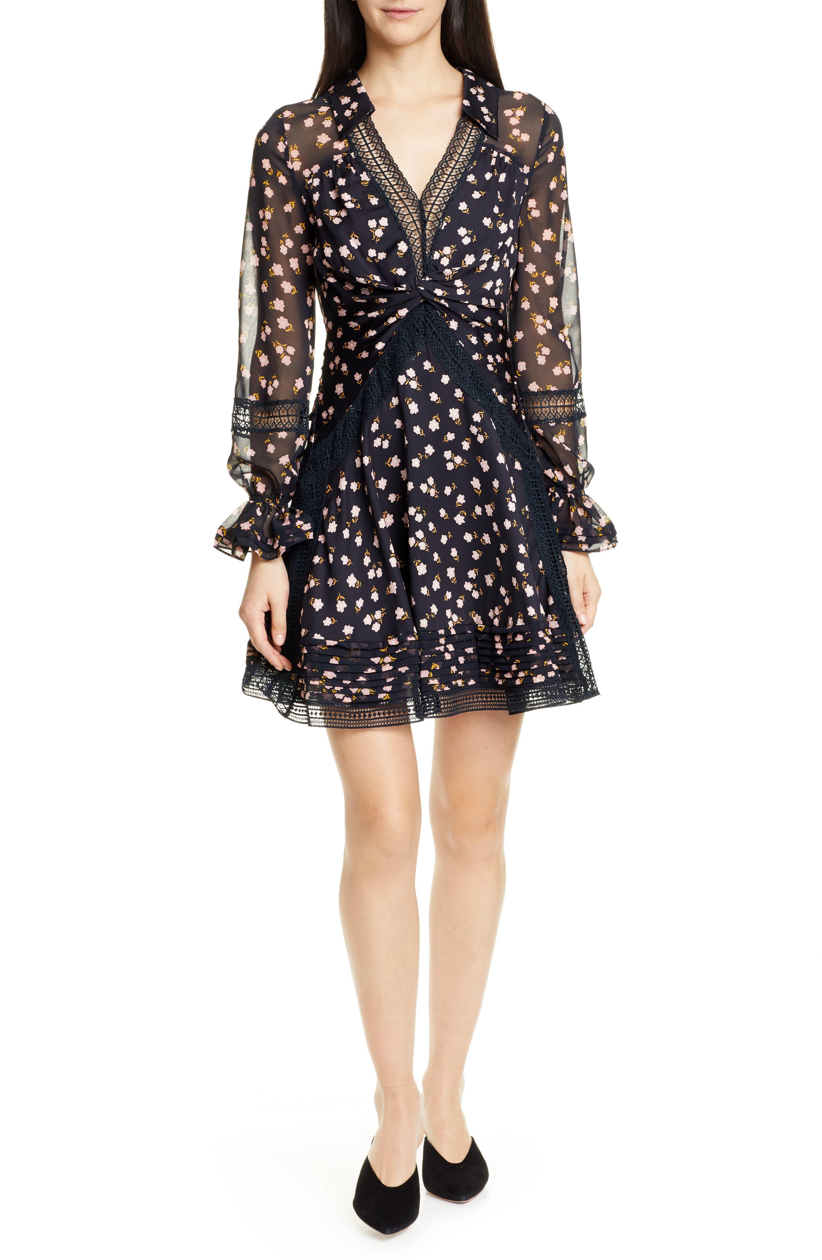 Self-Portrait Twist Front Lace Trim Minidress, Black