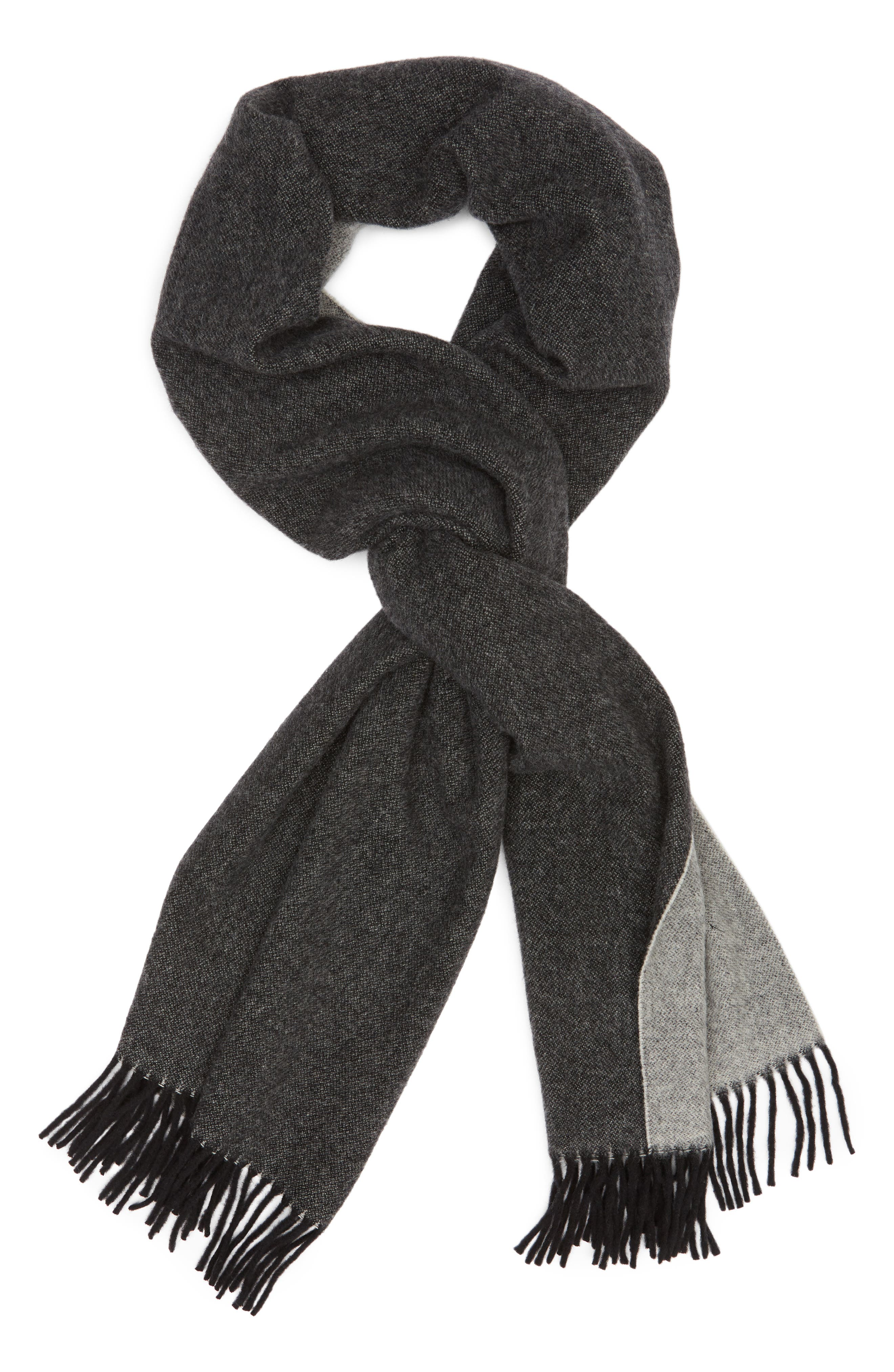 Two Tone Woven Wool Scarf,                             Alternate thumbnail 2, color,                             BLACK