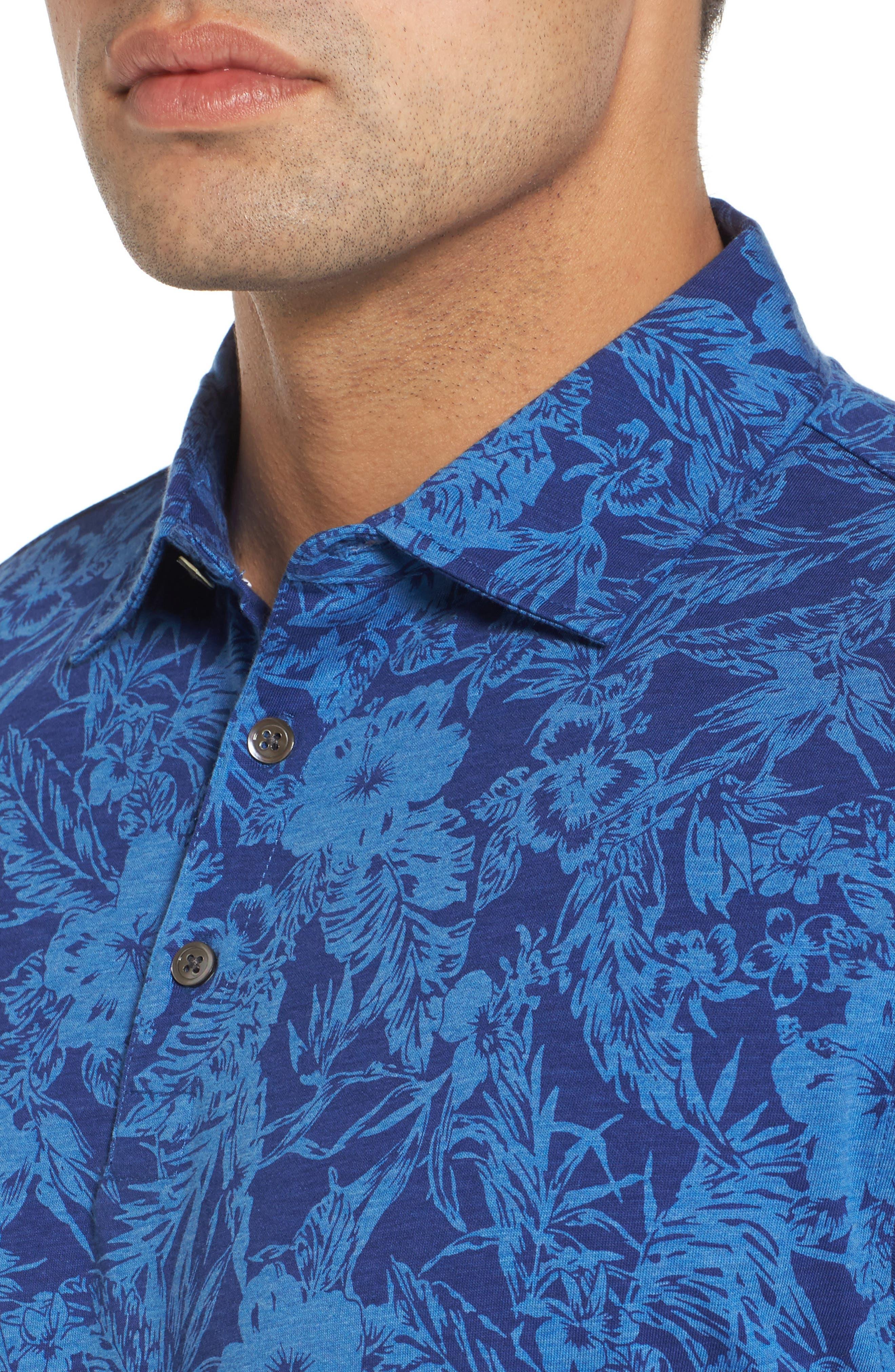 Crown Floral Cotton & Silk Polo Shirt,                             Alternate thumbnail 4, color,                             400